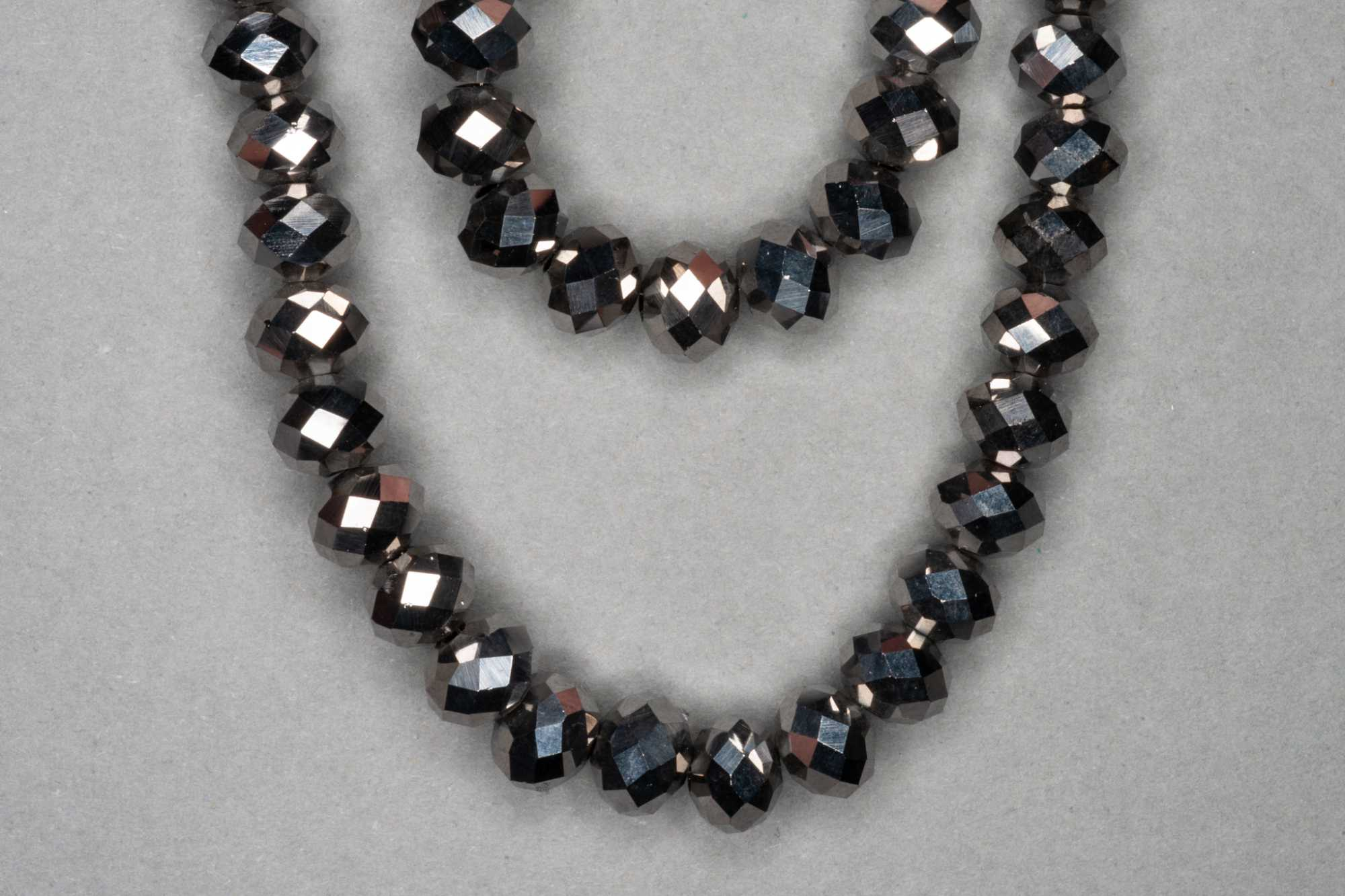 Metallic Pewter Faceted Glass Beads