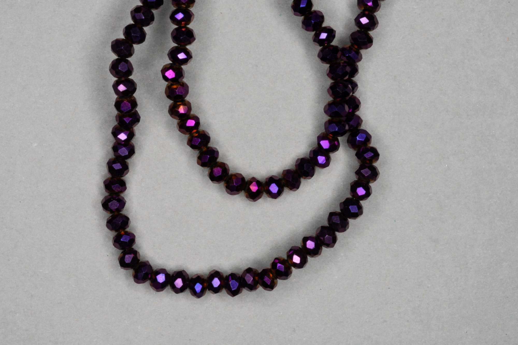 Metallic Purple Faceted Glass Beads