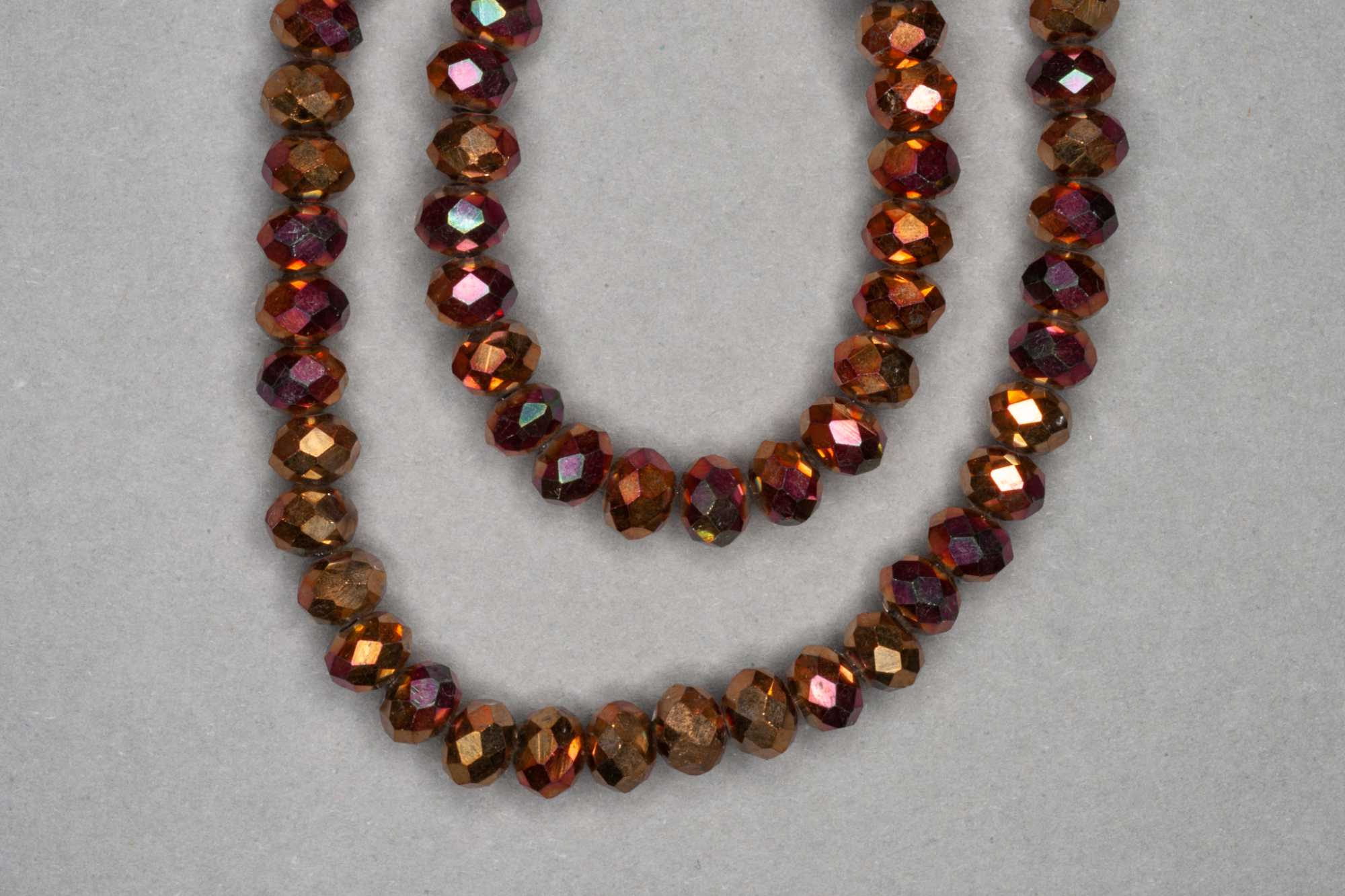 Metallic Rose Gold Faceted Glass Beads