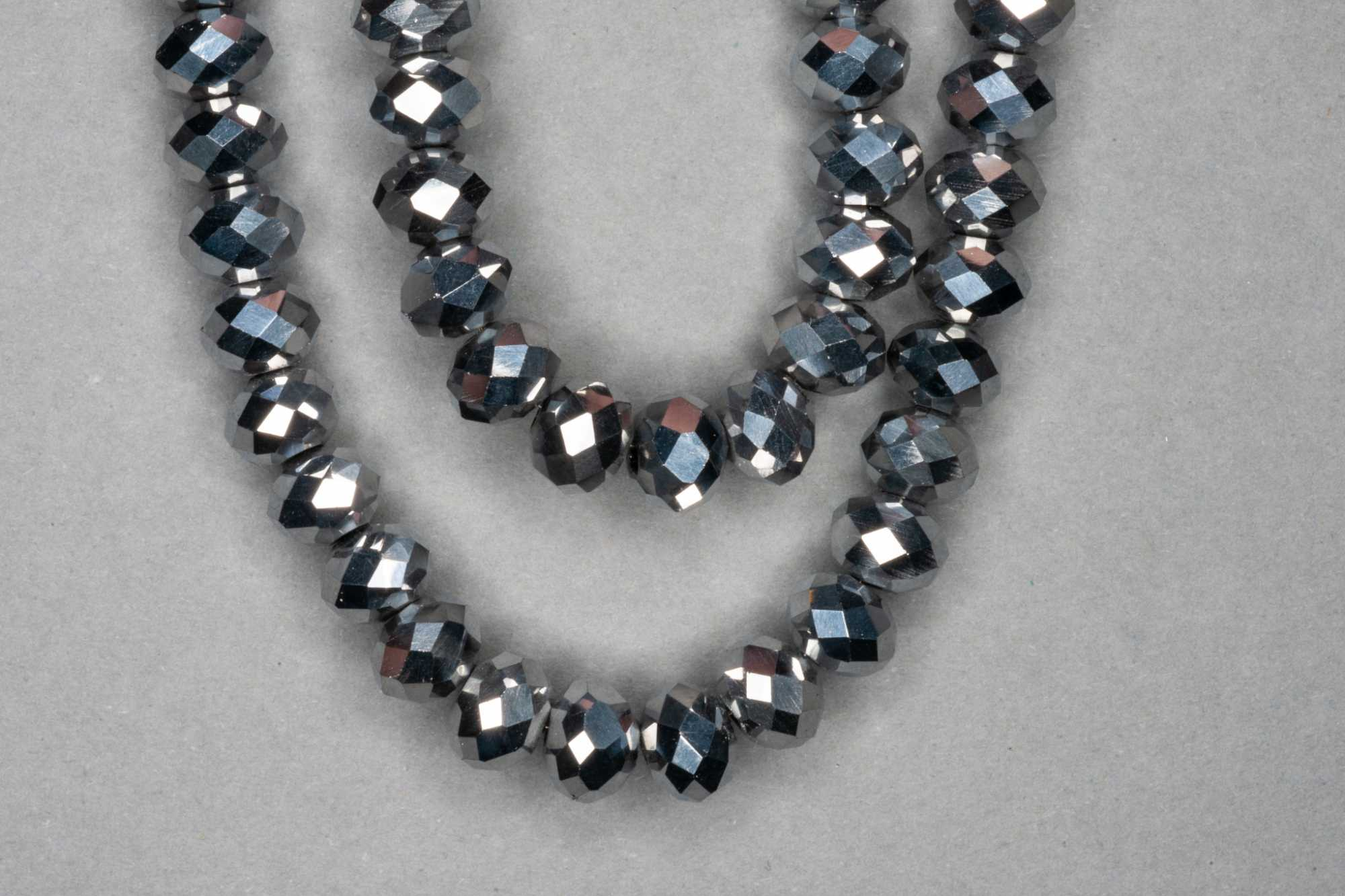 Metallic Silver Faceted Glass Beads