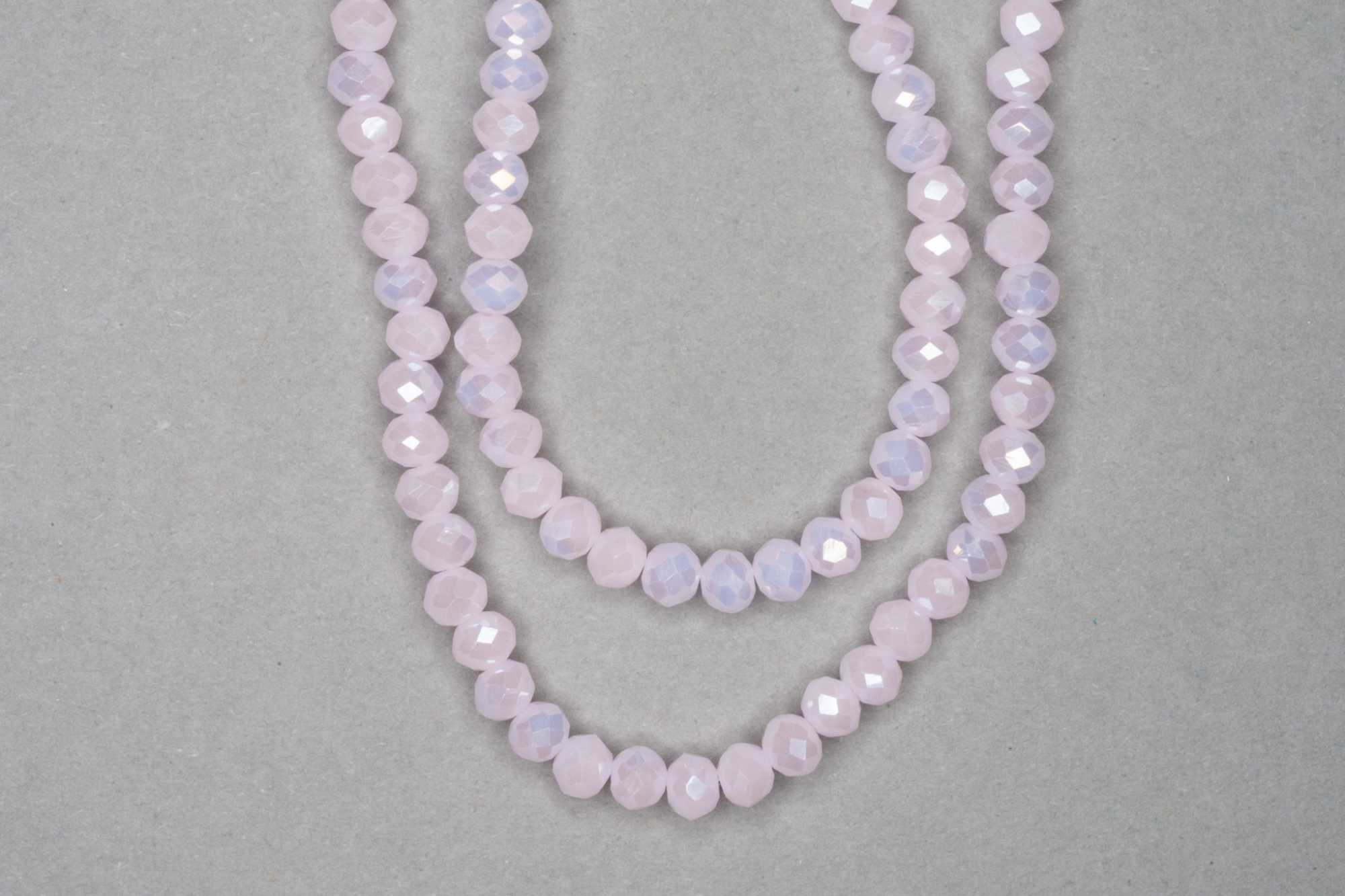 Opaque Baby Pink Faceted Glass Beads