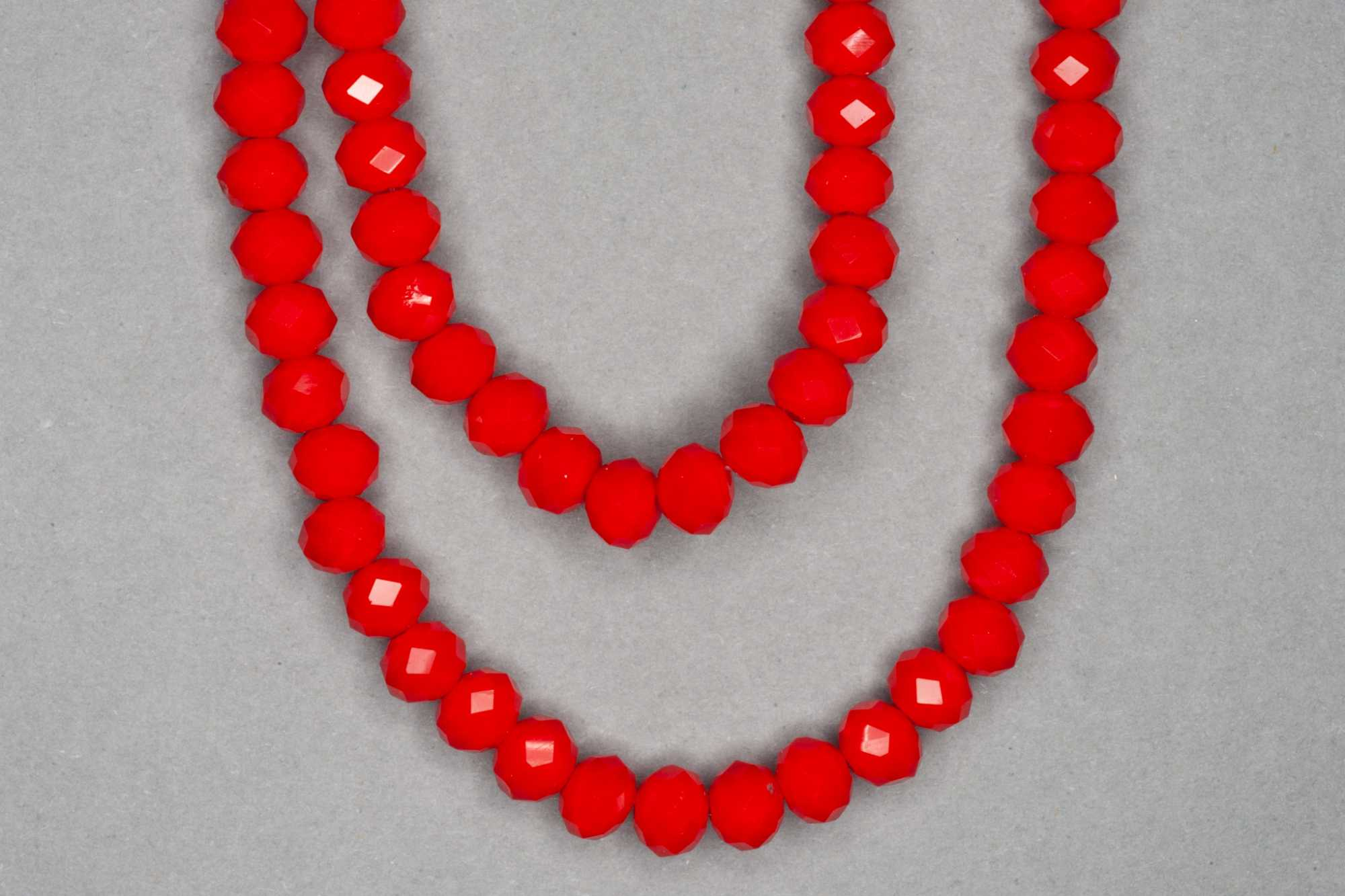 Opaque Red Faceted Glass Beads
