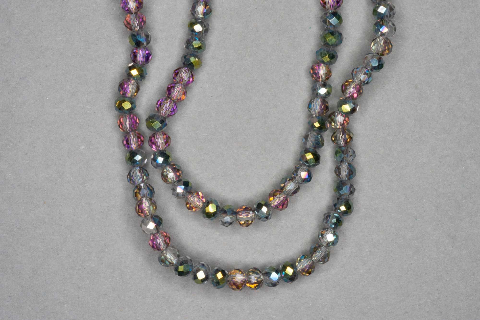 Peacock/Smokey Faceted Glass Beads