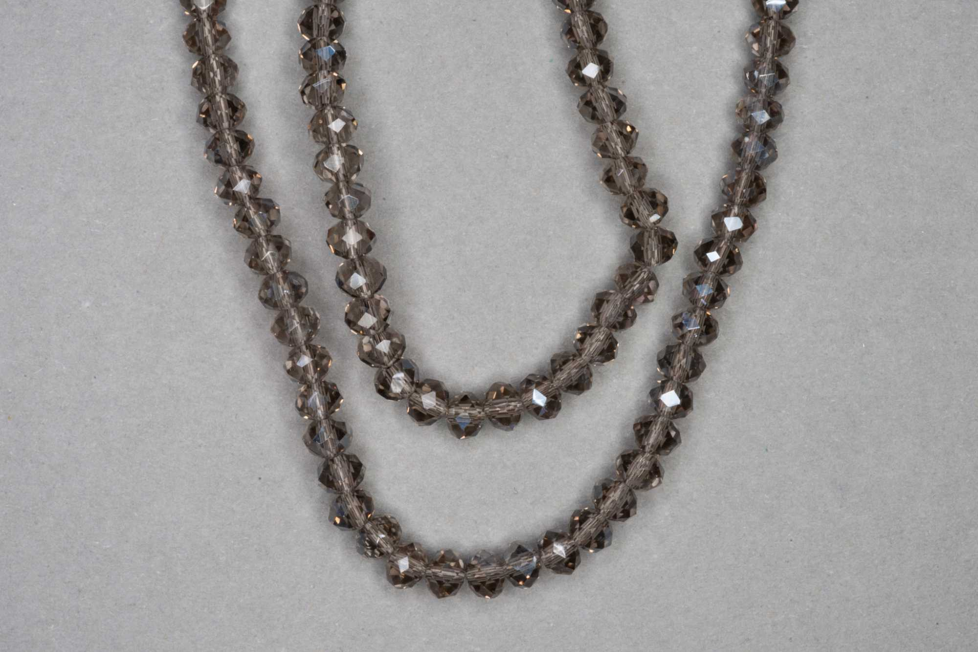 Silver Smokey Faceted Glass Beads