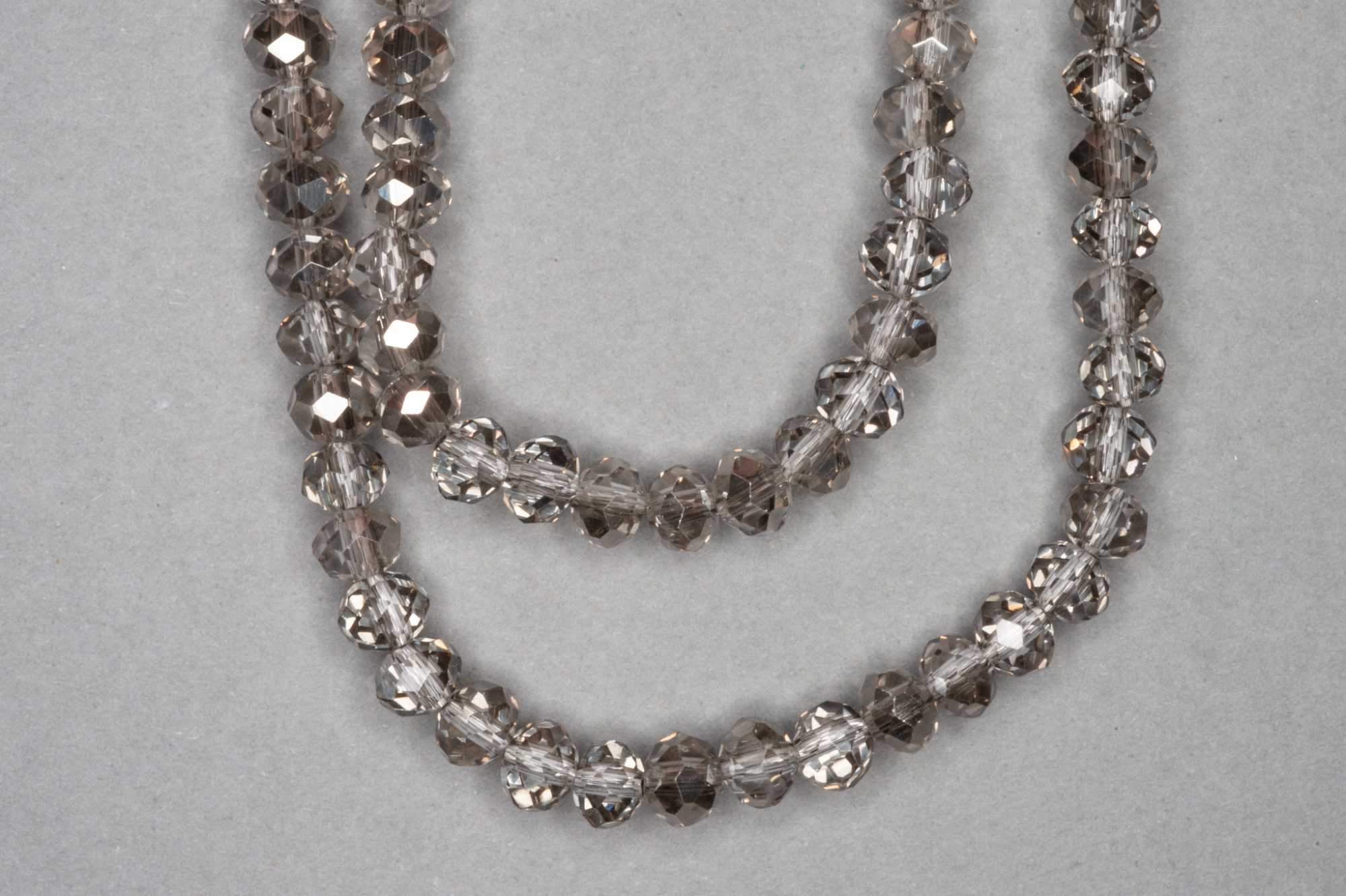 Silver/Smokey Faceted Glass Beads