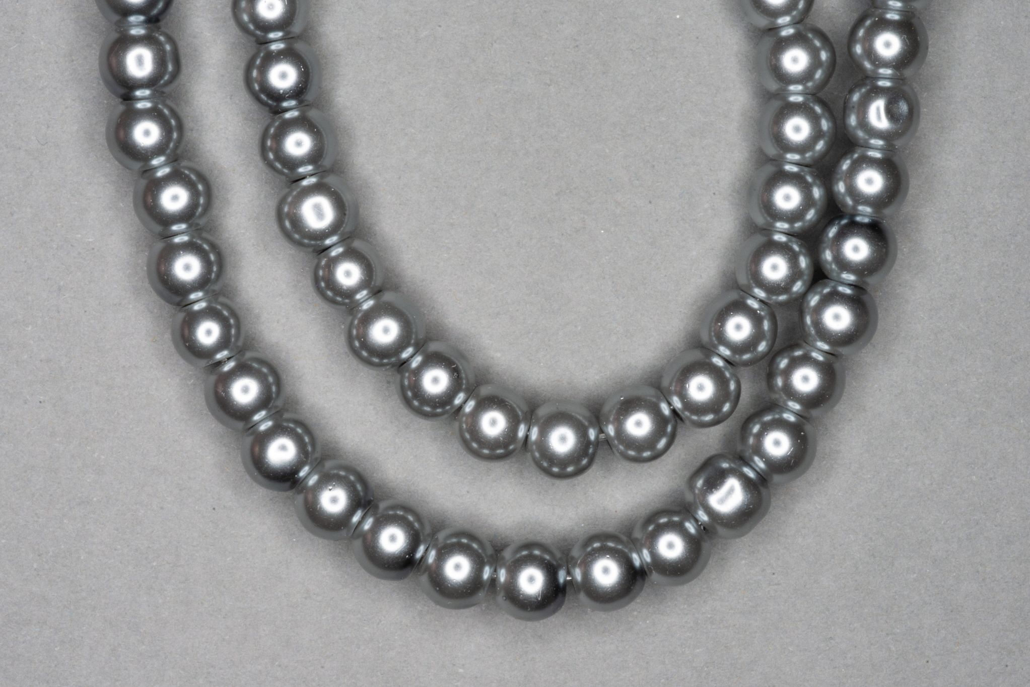 Grey Pearl Glass Beads