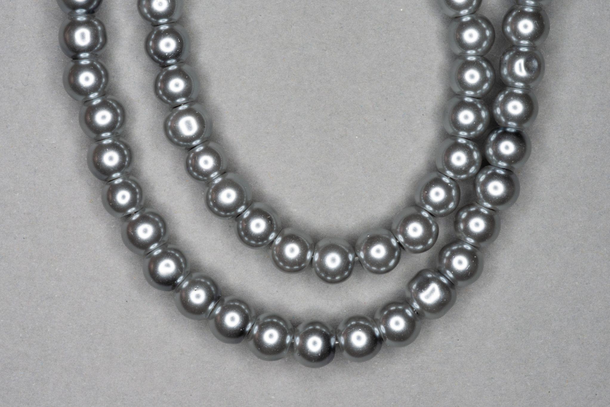 Grey Pearl Glass Beads