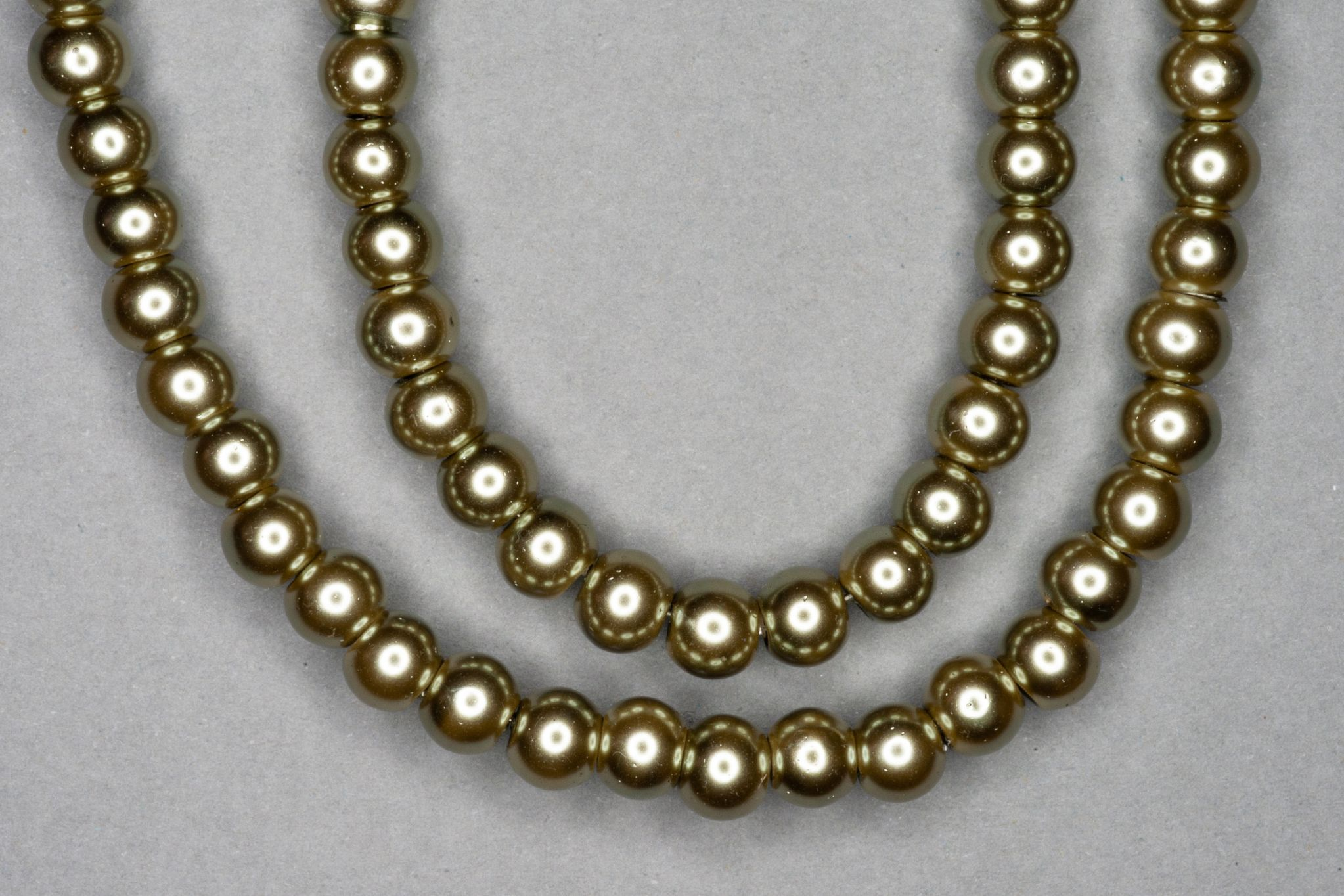 Silver Olive Pearl Glass Beads