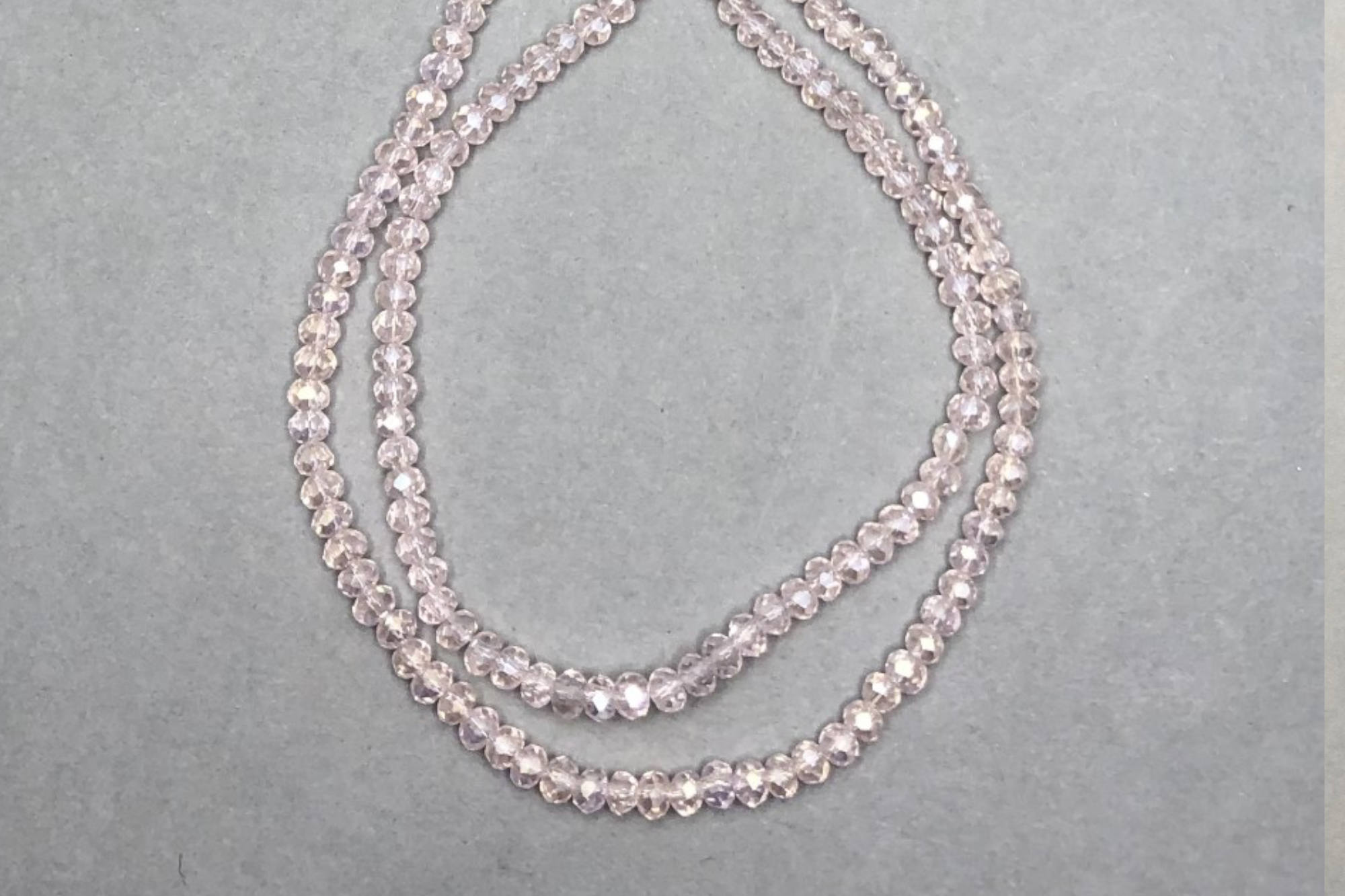 AB Light Flesh Pink Faceted Glass Beads