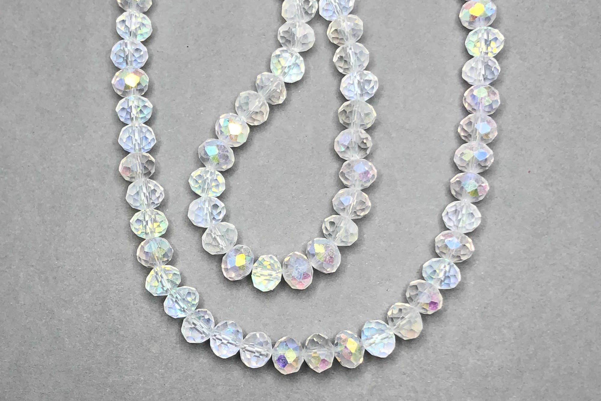 AB Frosted Clear Faceted Glass Beads *NEW*