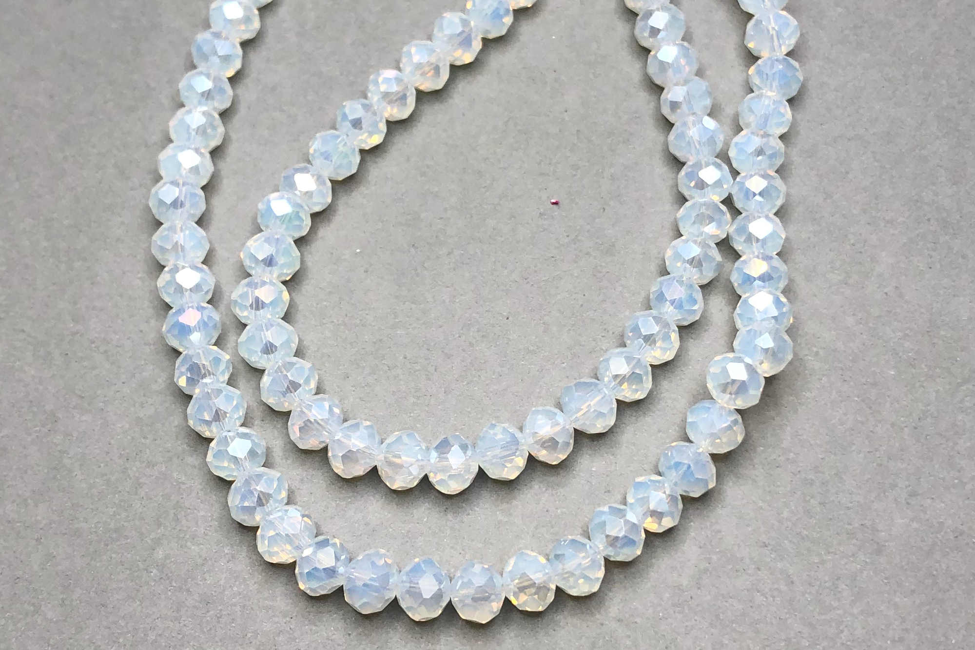 AB Milky White Faceted Glass Beads *NEW*