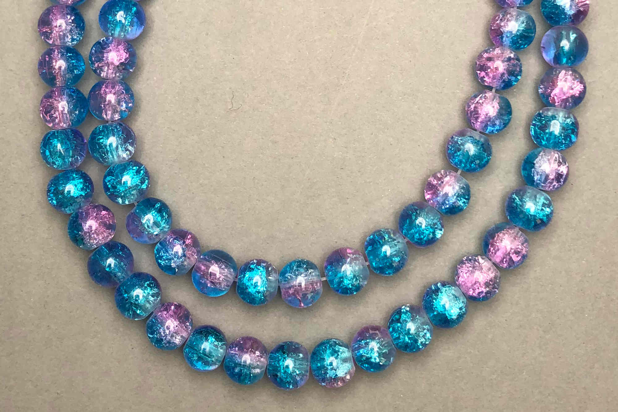 Turquoise/Pink Crackle Glass Beads