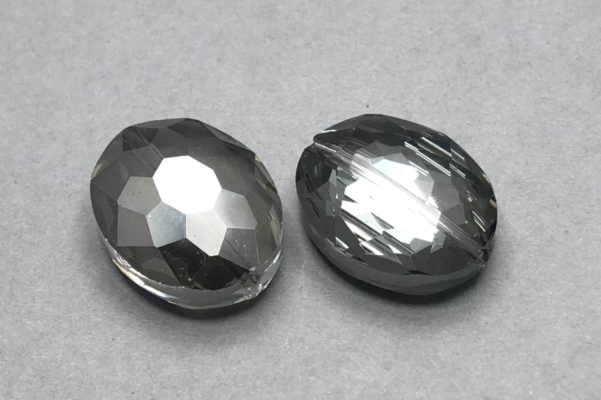 Metallic Silver/Grey Oval Faceted Glass Bead, 1mm hole