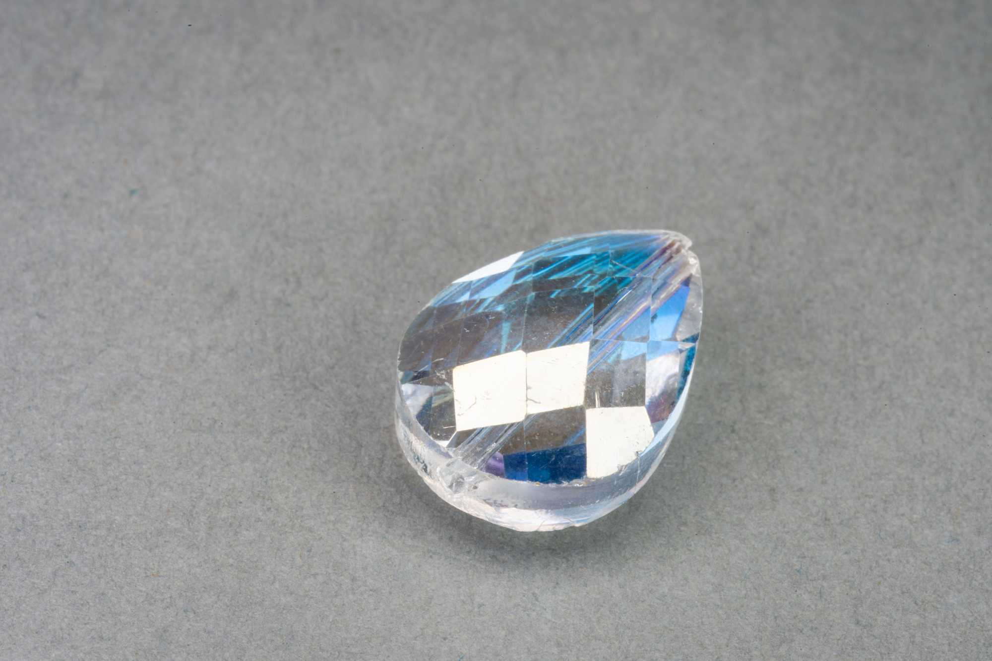 AB Clear Pear Shape Faceted Glass Bead 18x13x8mm