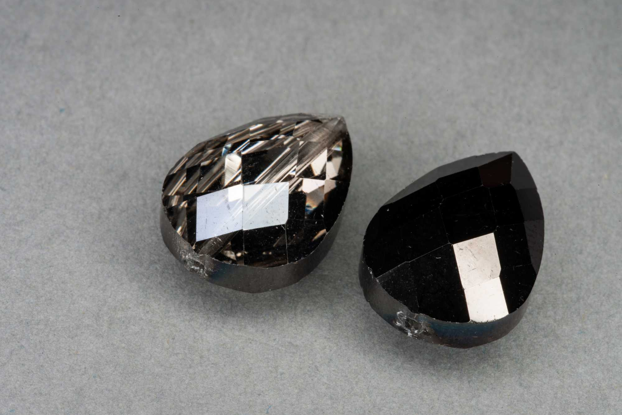 Metallic Black/Silver Pear Shape Faceted Glass Bead 18x13x8mm