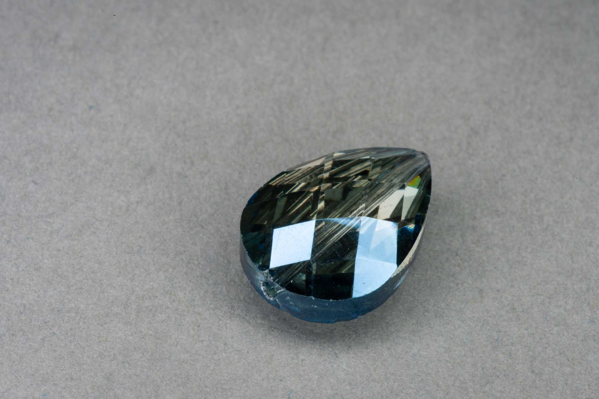 Midnight Pear Shape Faceted Glass Bead 18x13x8mm