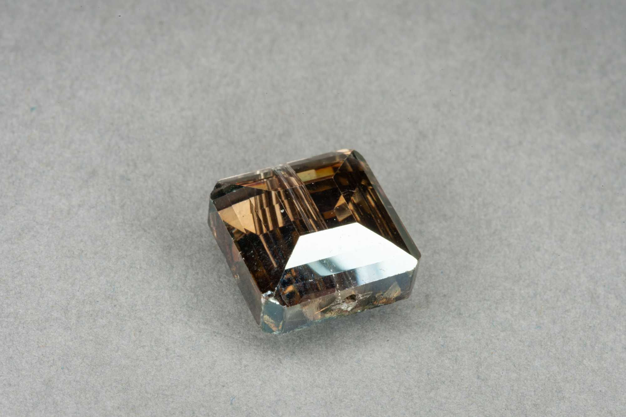Metallic Olive Square Faceted Glass Bead 13x7mm