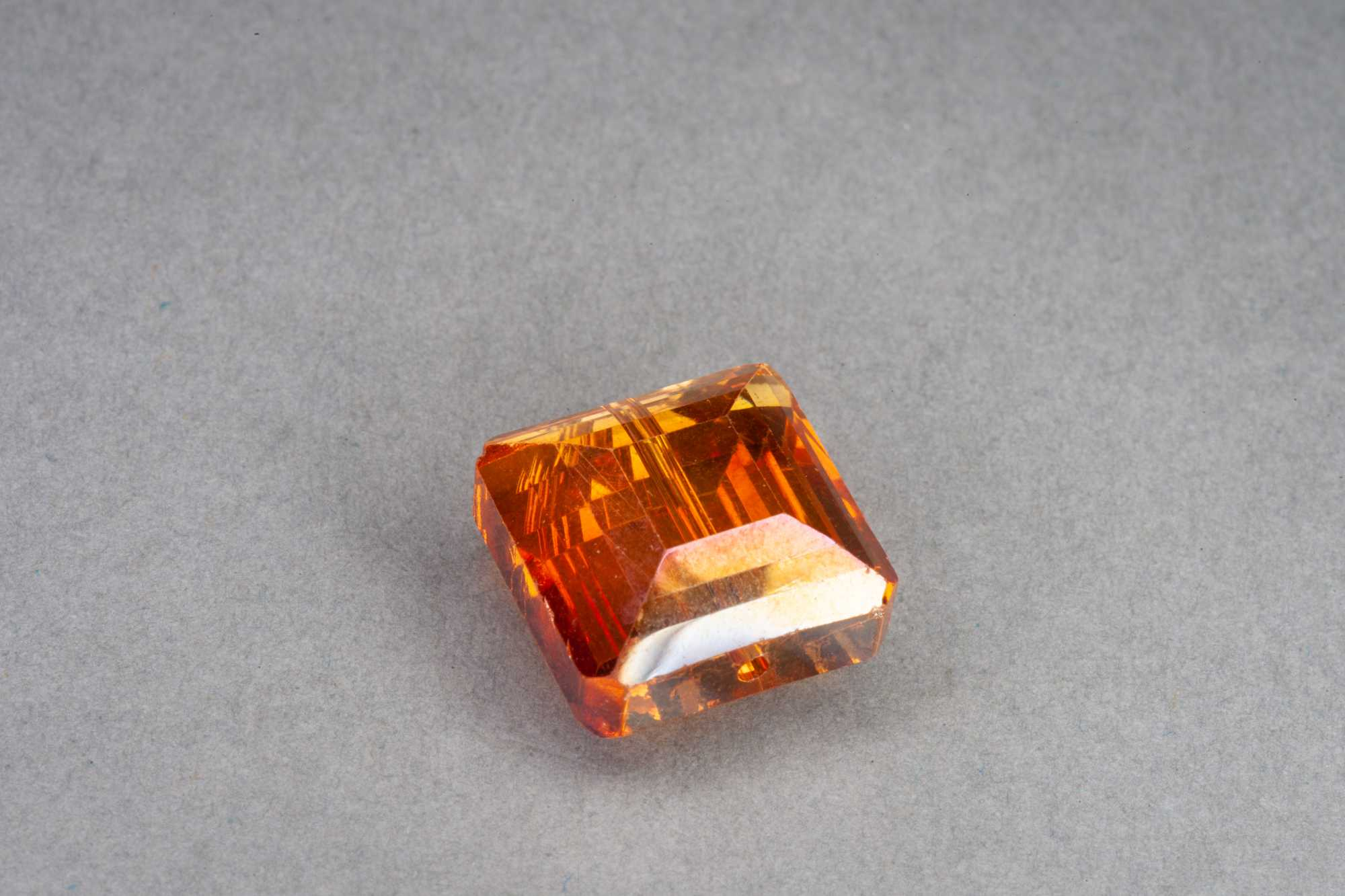 Orange Square Faceted Glass Bead 13x7mm
