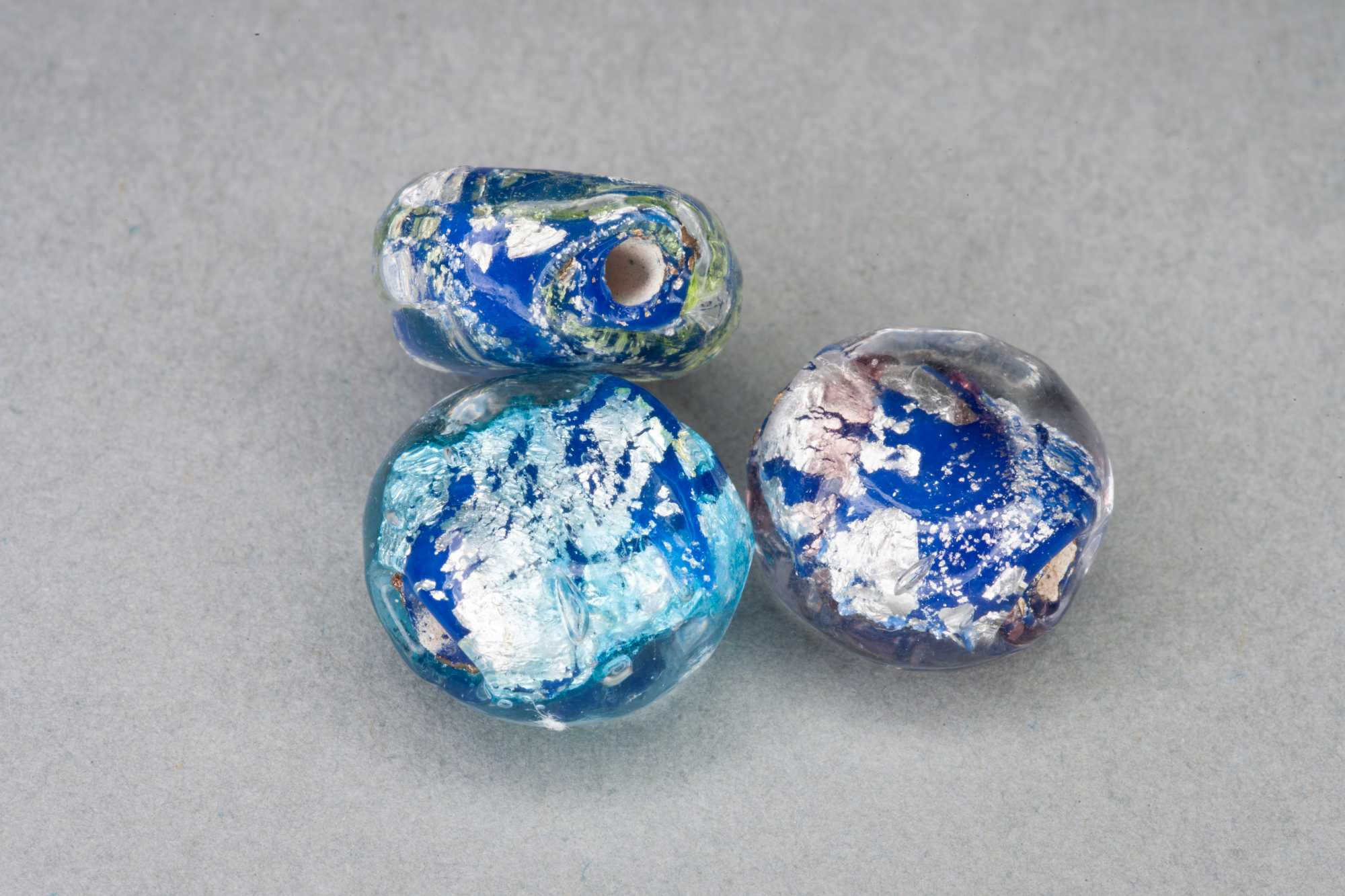 2 Colour Flat Round Foil Glass Bead, 12x7mm