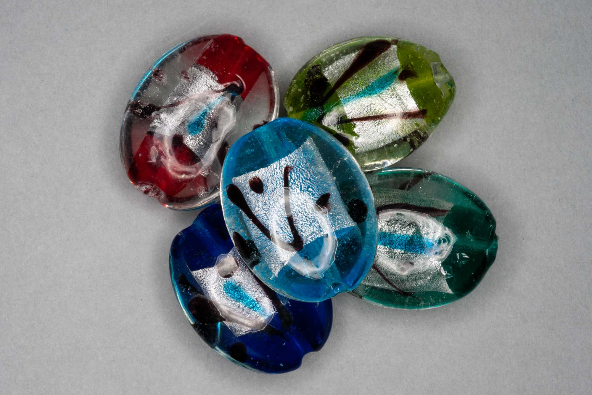 Pillow Oval Foil Stripe Glass Bead, 30x25x11mm
