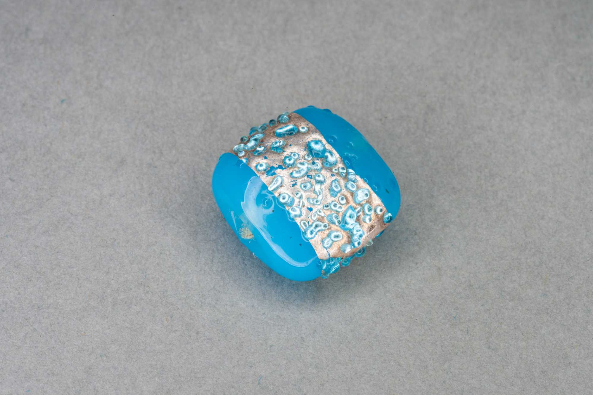 Blue Square Pillow Foil Stripe Glass Bead, 14x14x8mm