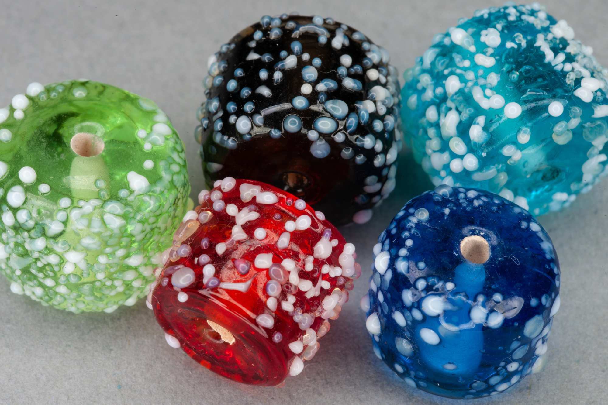 Coloured Glass Frit Barrel Bead, 13x10mm, 0.9mm Hole
