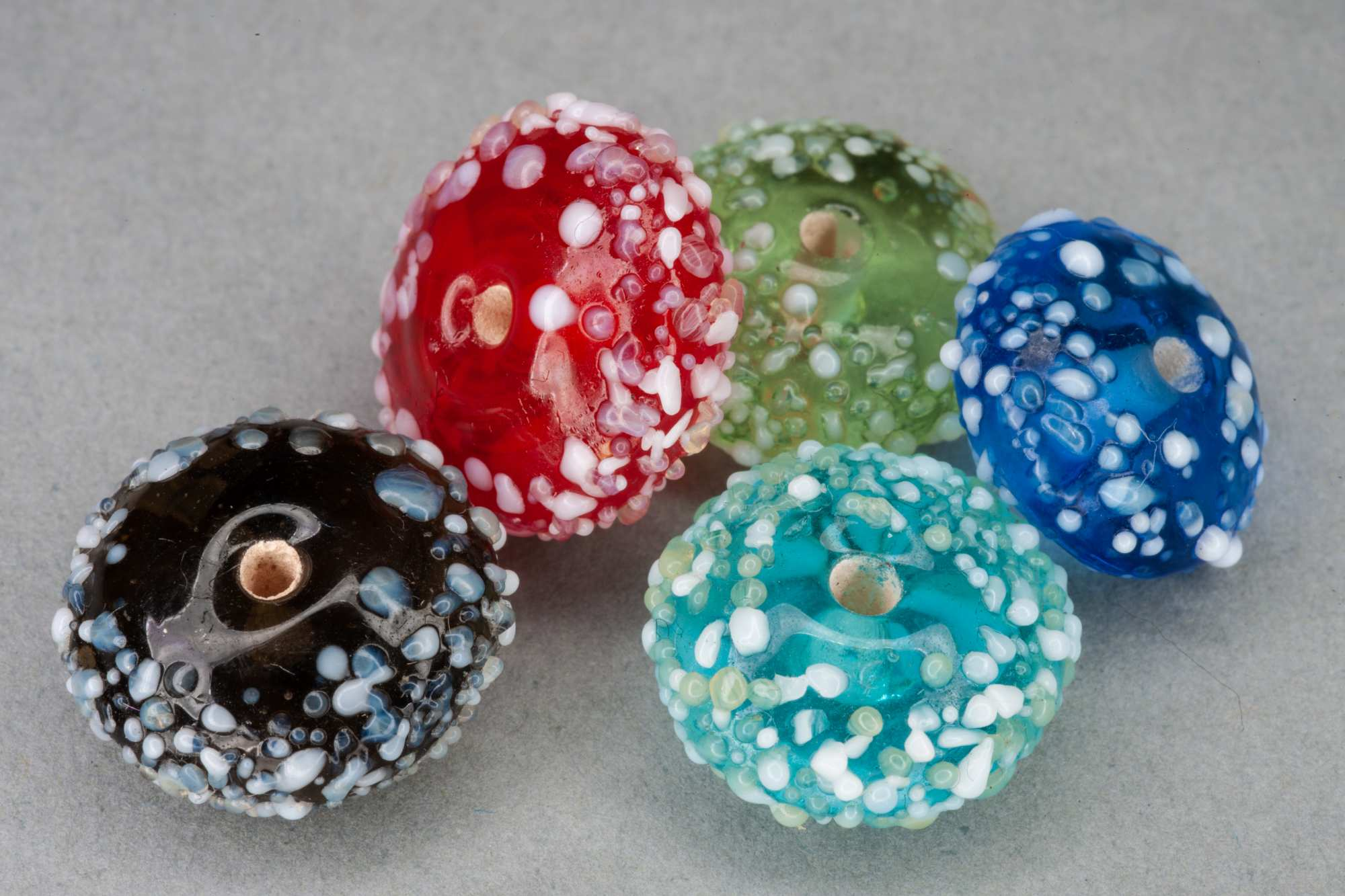 Coloured Glass Frit Pillow Bead, 14x7mm, 0.9mm Hole