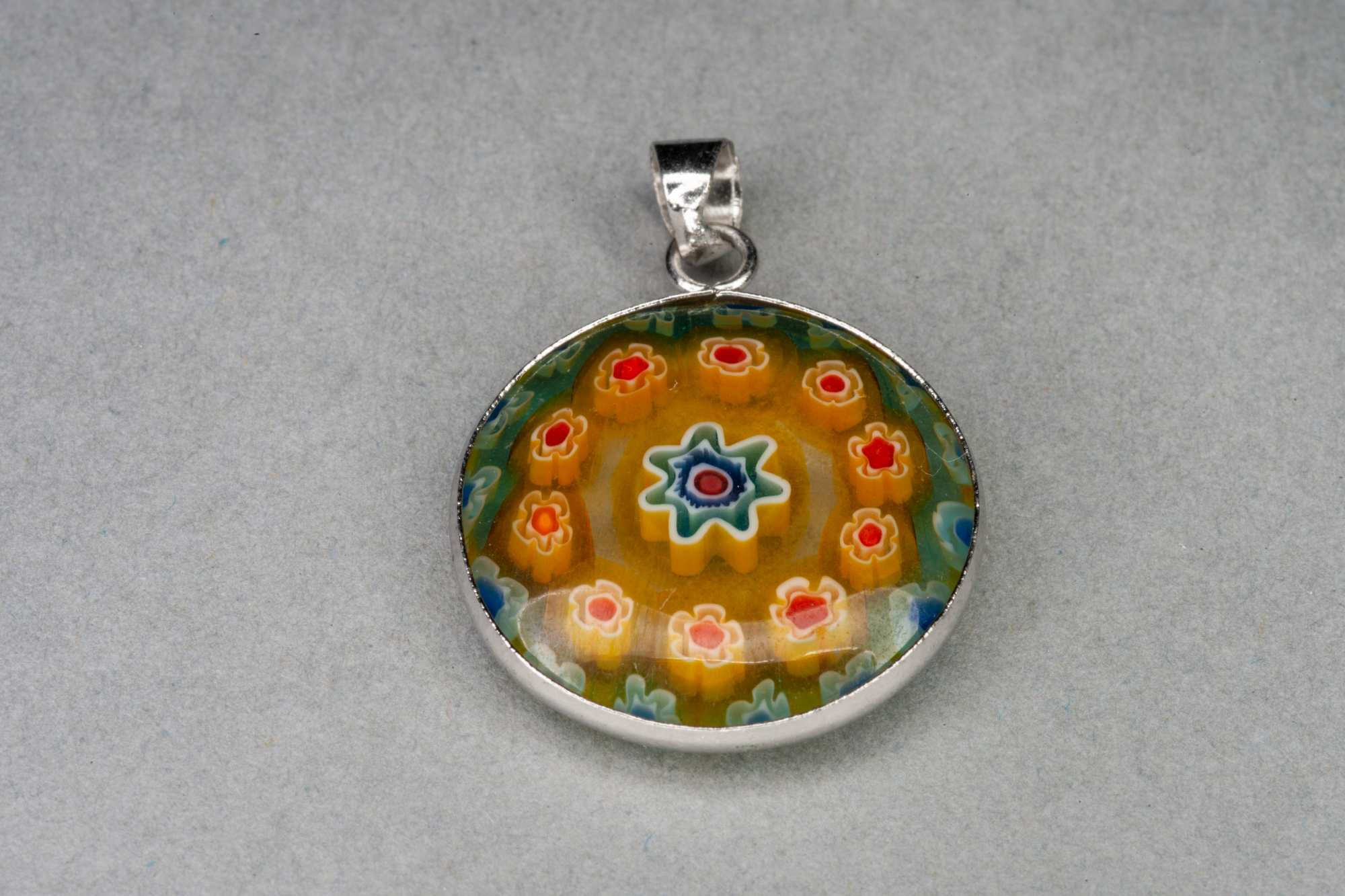 Round Mosaic Glass Pendant, 21×2.5mm