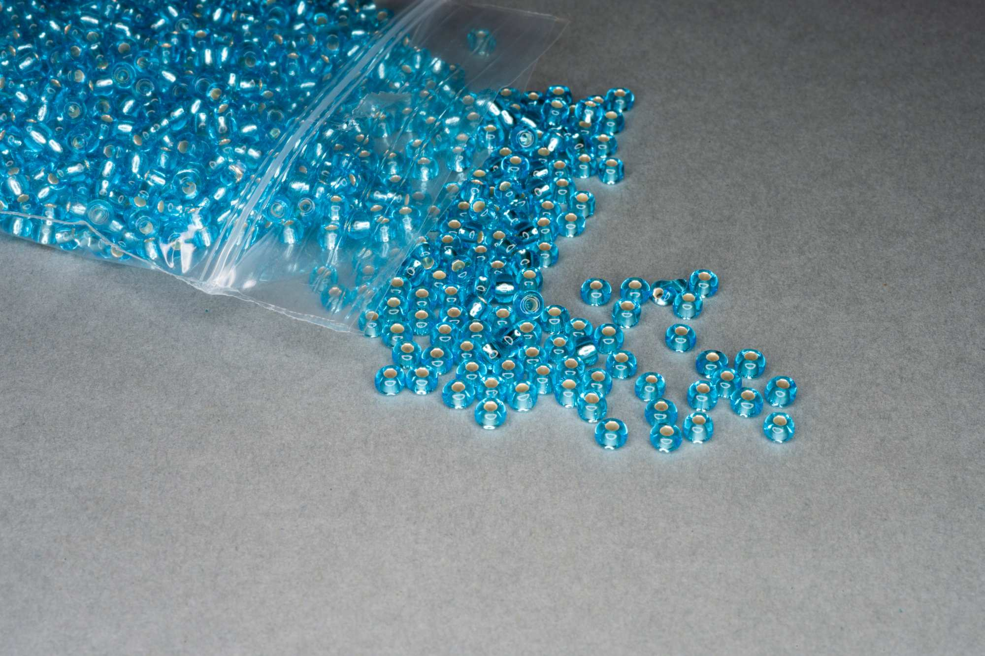 Silver Lined Aqua Blue Seed Rocaille Glass Beads, 30g