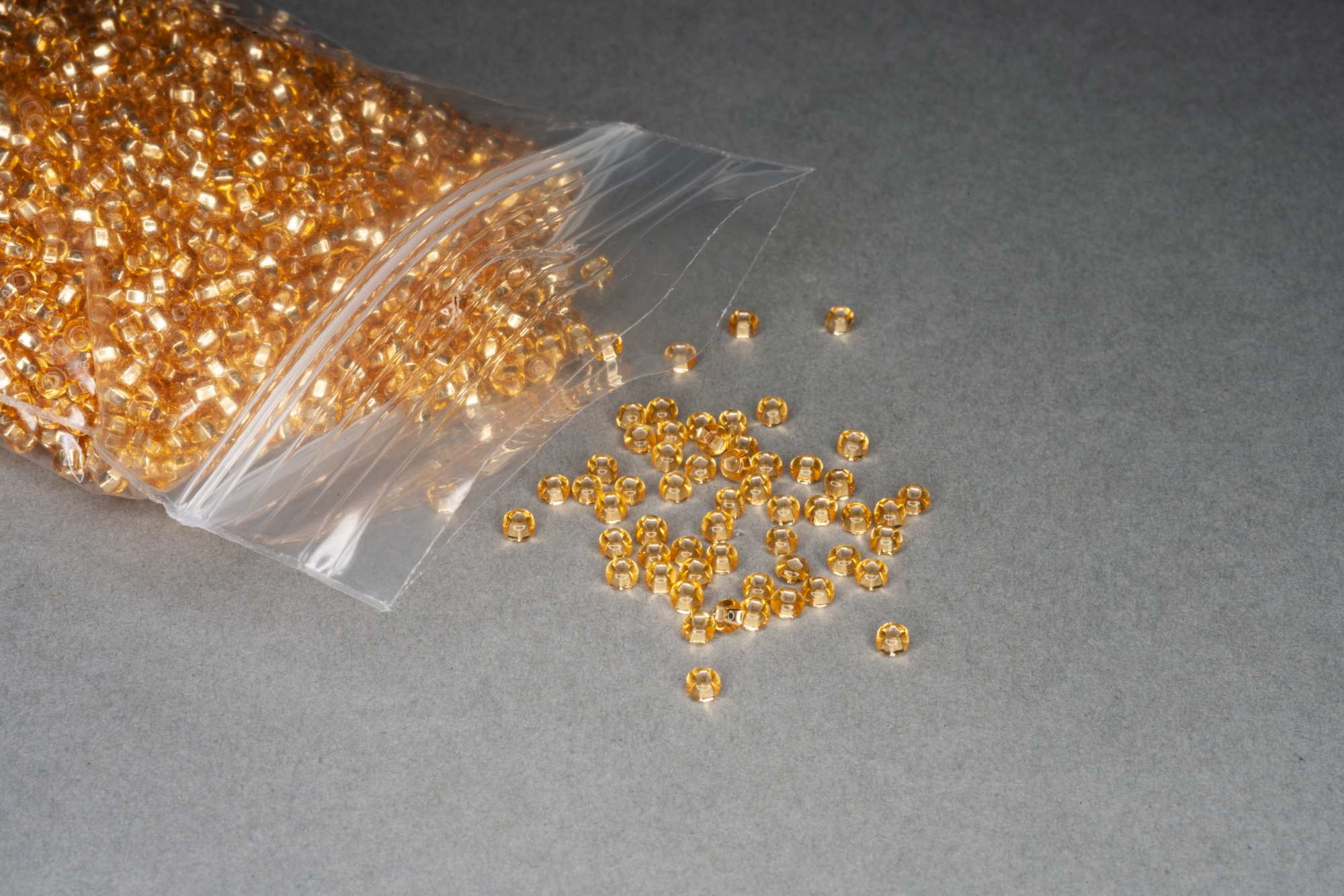 Silver Lined Gold Seed Rocaille Glass Beads, 30g