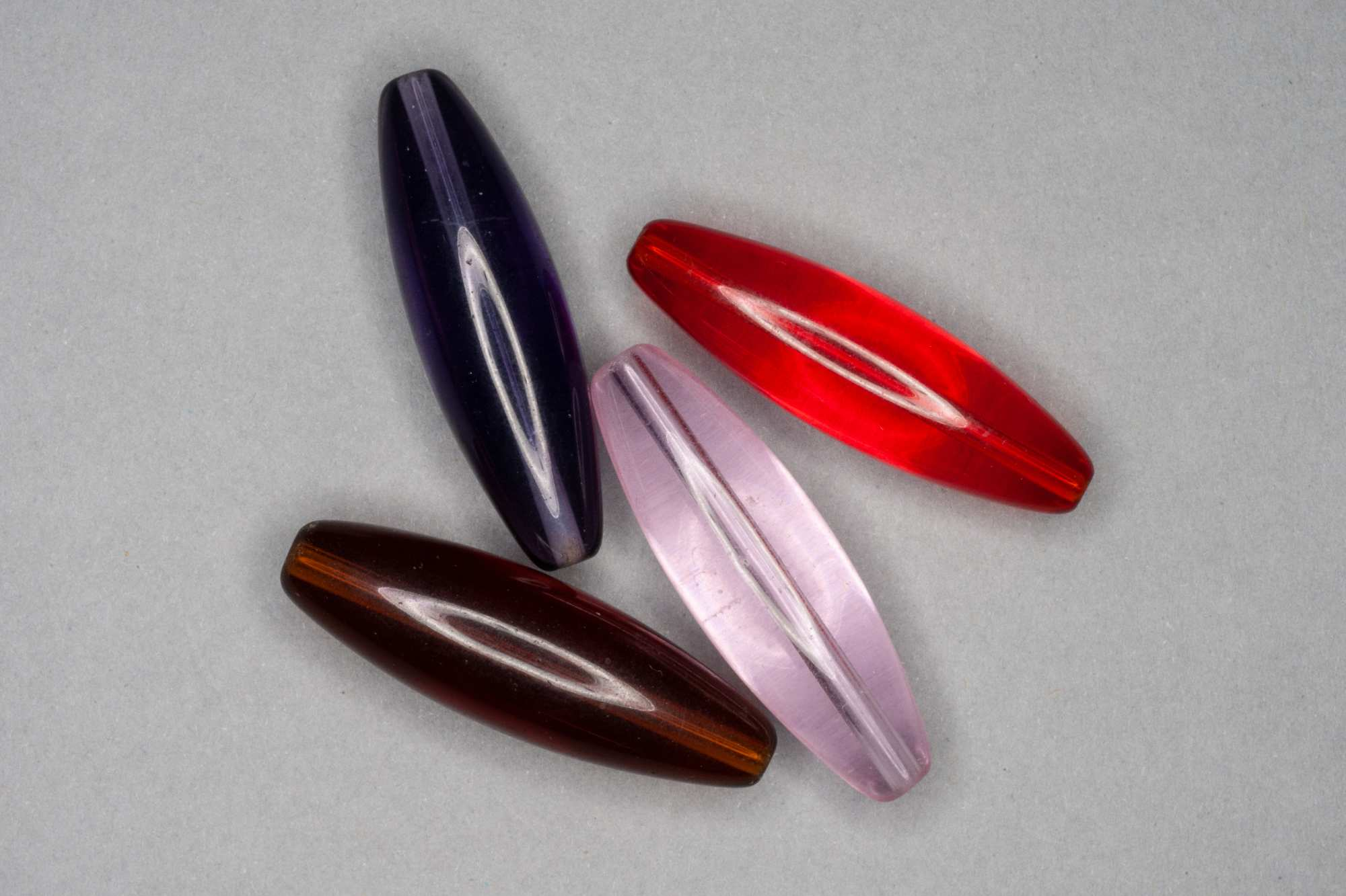 Long Oval Glass Bead, 40x12mm