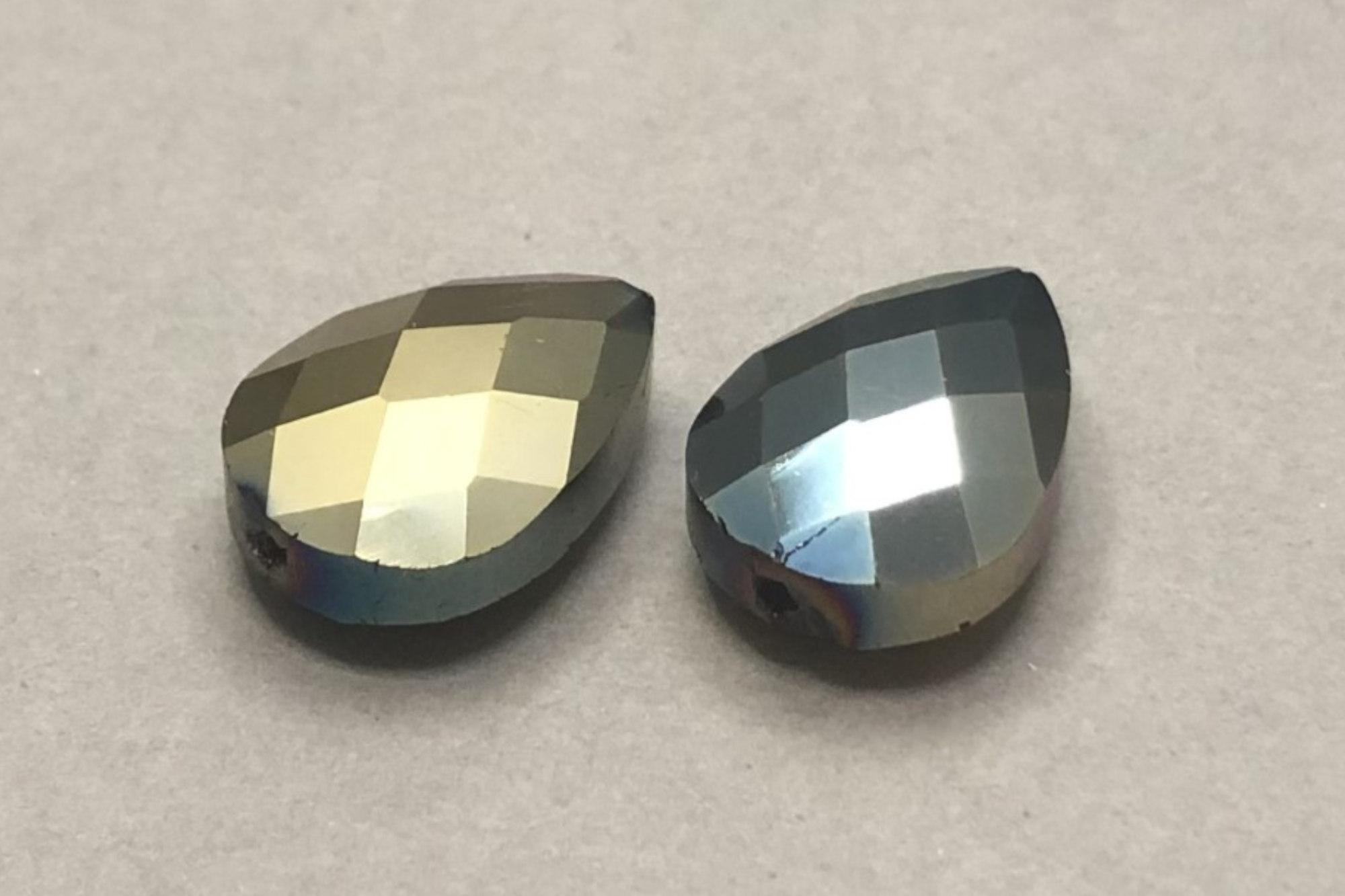 Metallic Teal/Light Bronze Pear Shape Faceted Glass Bead 18x13x8mm