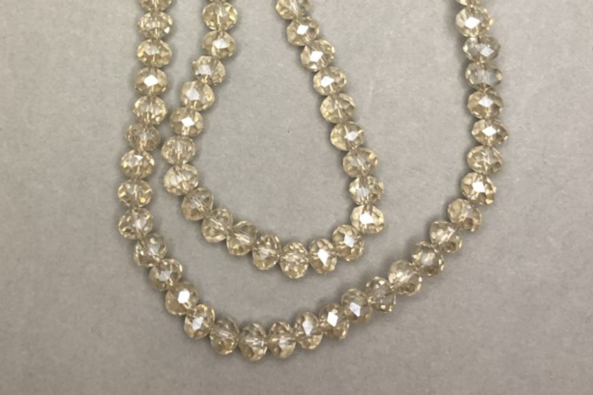 Silver Linen Faceted Glass Beads