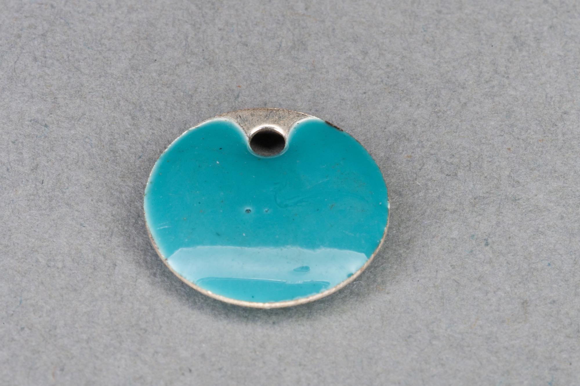 Flat Turquoise Enamel Disk Pendant, Silver Edge 12x2mm, 1.2mm hole