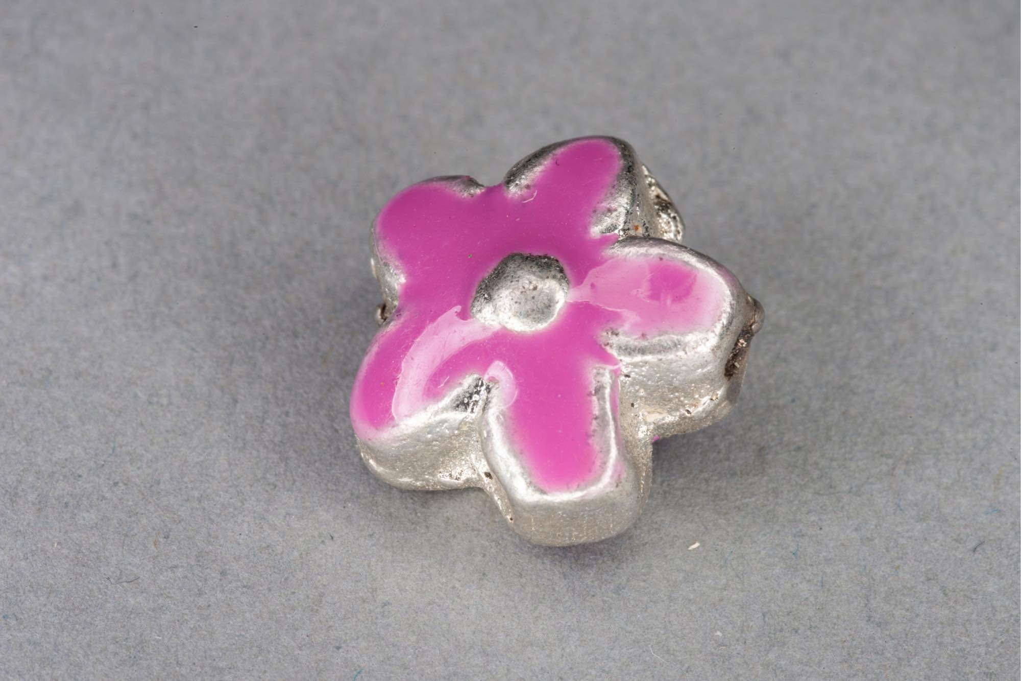 Silver Plated Metal Flower Bead With Pink Enamel Effect 14x7mm, 1.2mm hole
