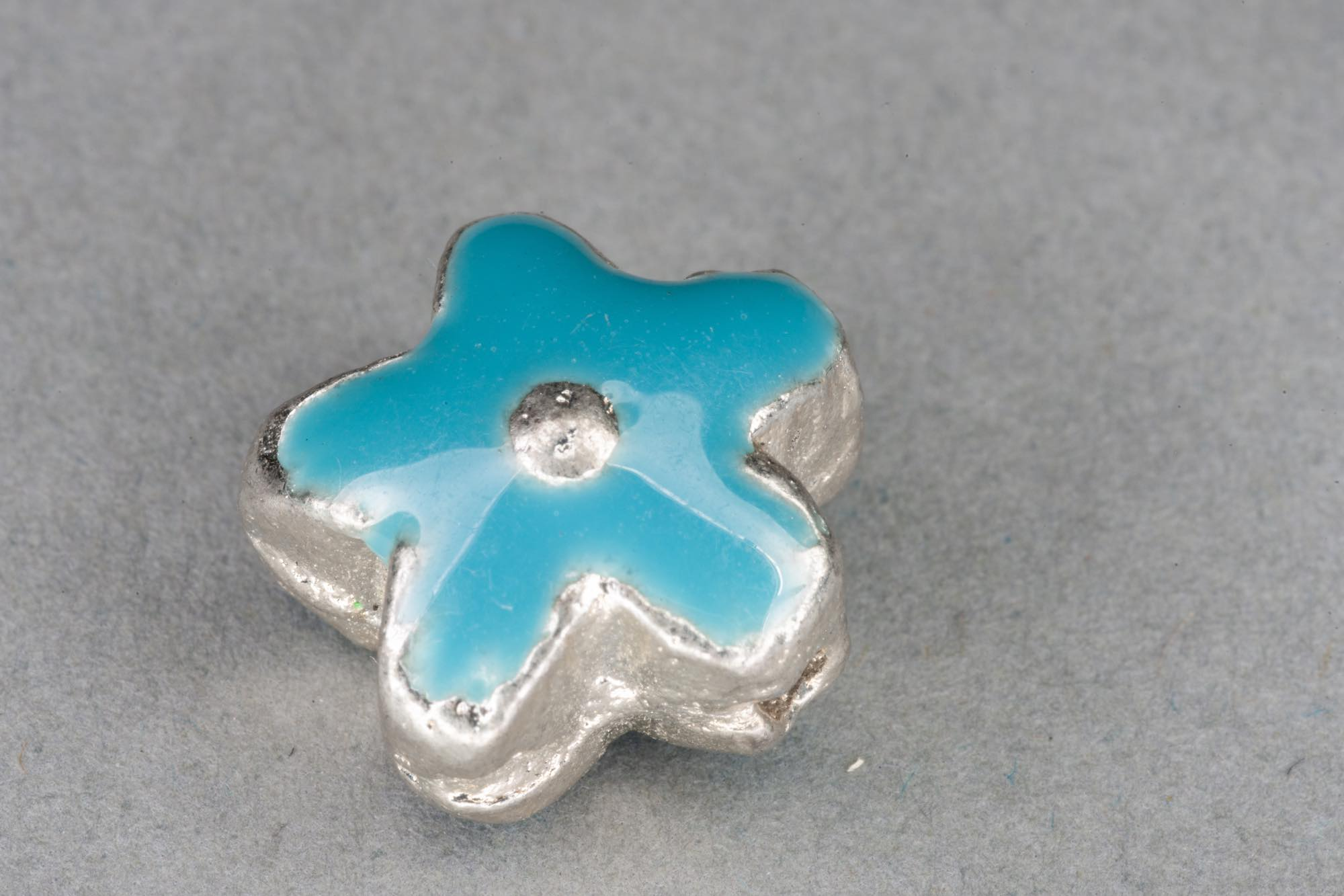 Silver Plated Metal Flower Bead With Turquoise Enamel Effect 14x7mm, 1.2mm hole
