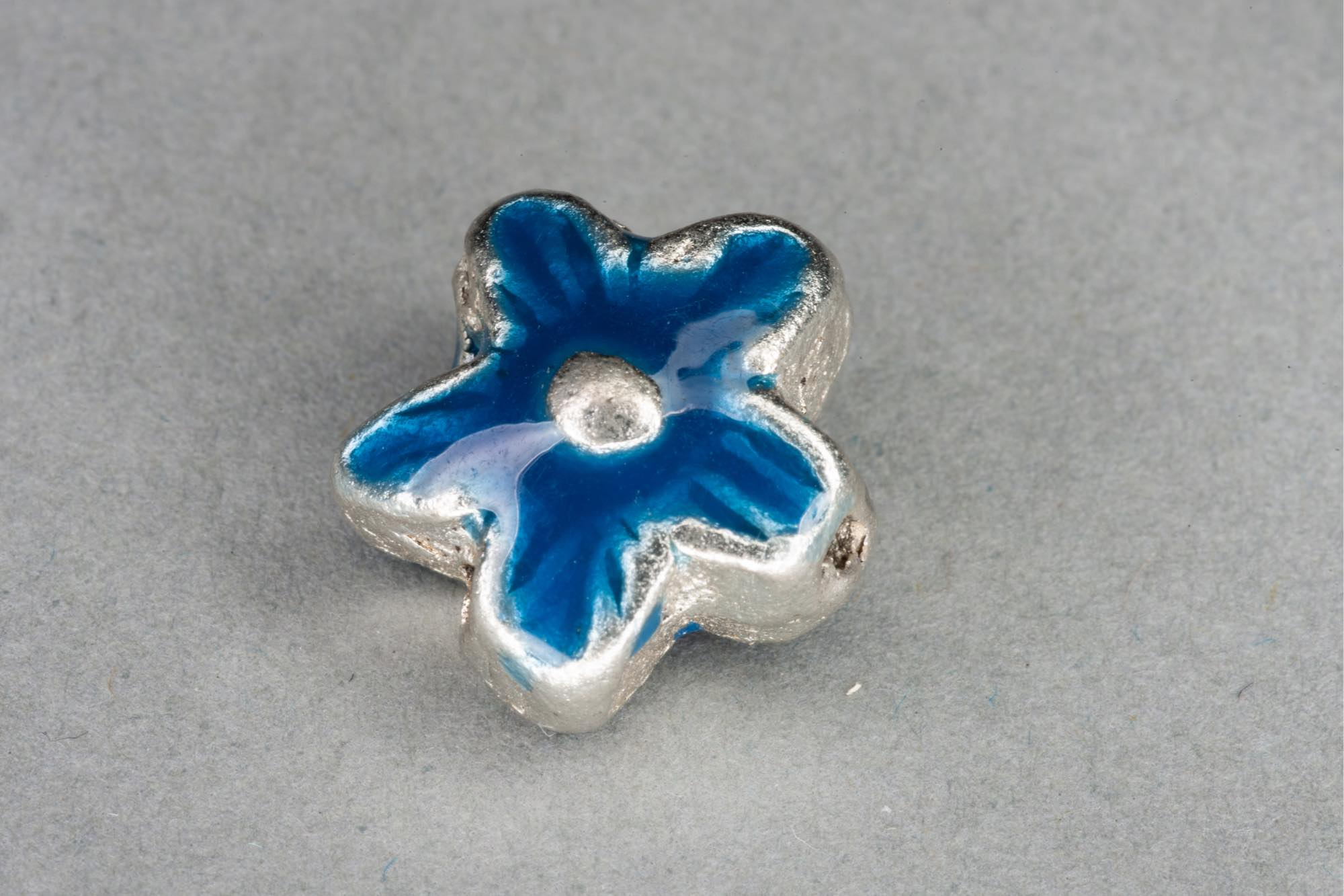 Silver Plated Metal Flower Bead With Navy Enamel Effect 14x7mm, 1.2mm hole