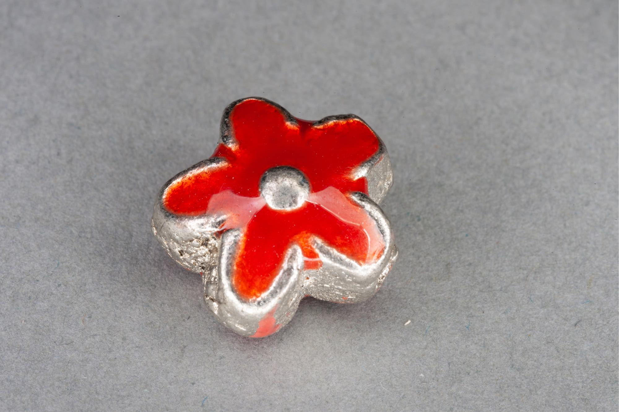 Silver Plated Metal Flower Bead With Red Enamel Effect 14x7mm, 1.2mm hole