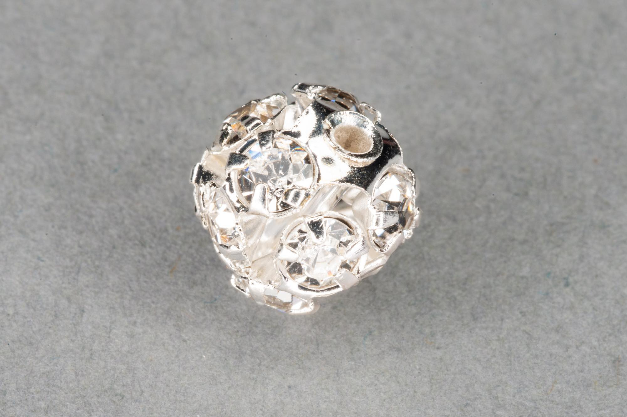 Silver Plated Round Diamante Bead 8mm, 0.6mm hole