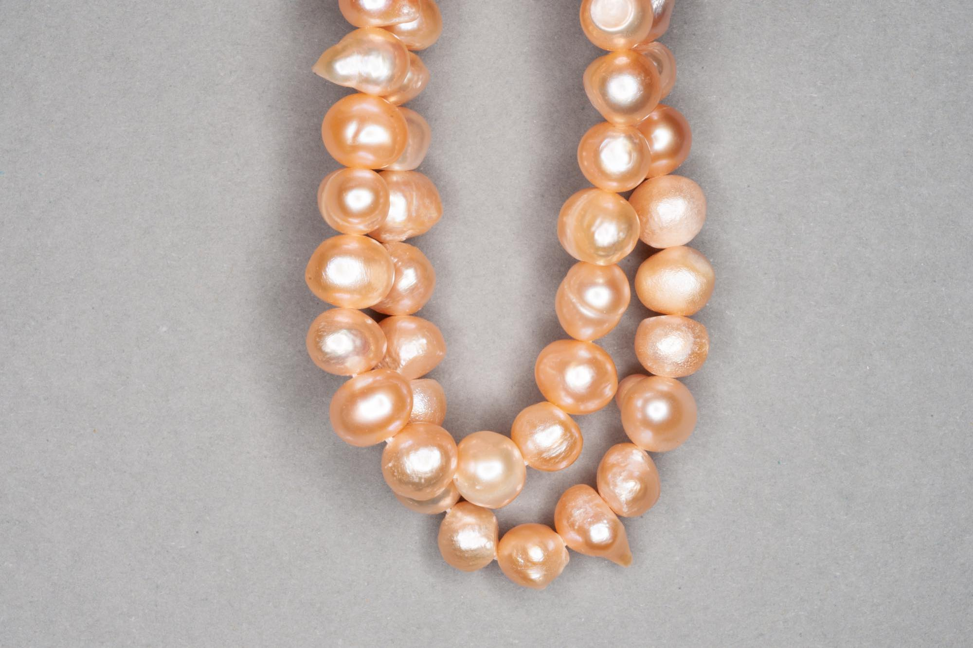 Orange Peach Dyed Fresh Water Pearl 38cm Strand, approx 7x8mm
