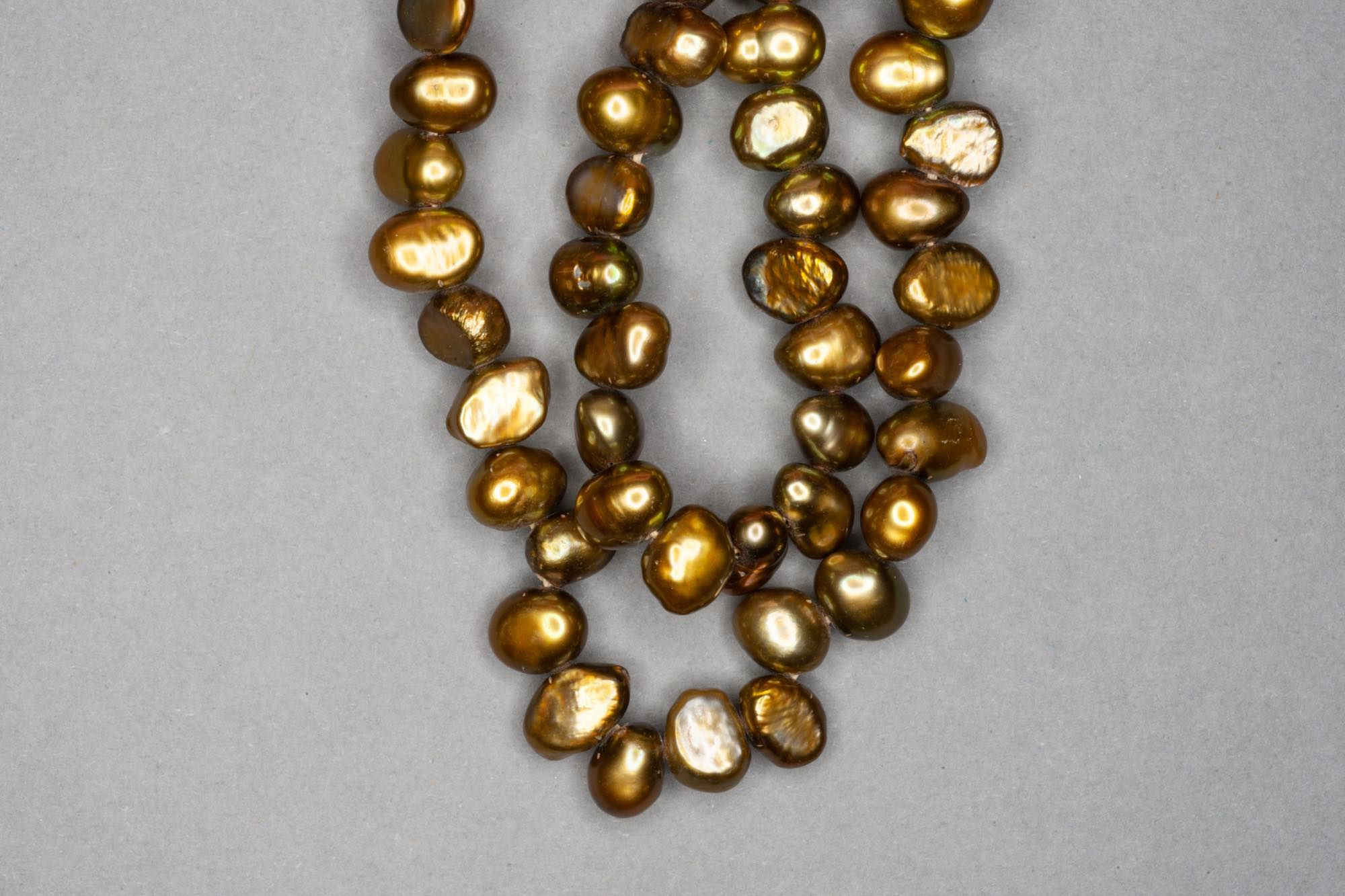 Golden Brown Dyed Fresh Water Pearl 38cm Strand, approx 8x6mm