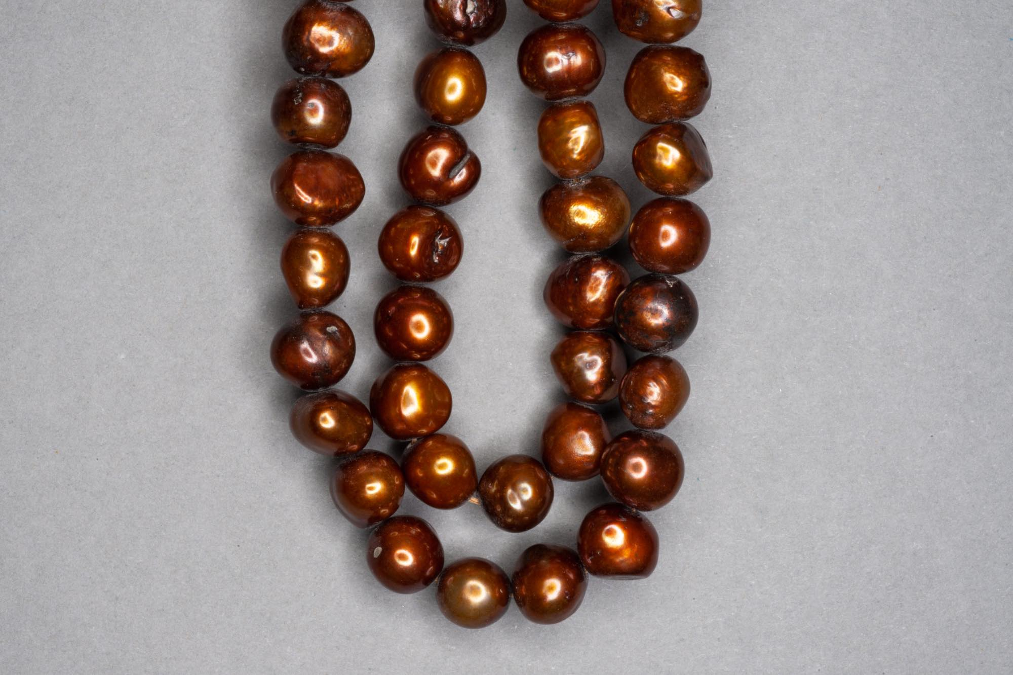 Chocolate Brown Dyed Fresh Water Pearl 38cm Strand, approx 9x7mm