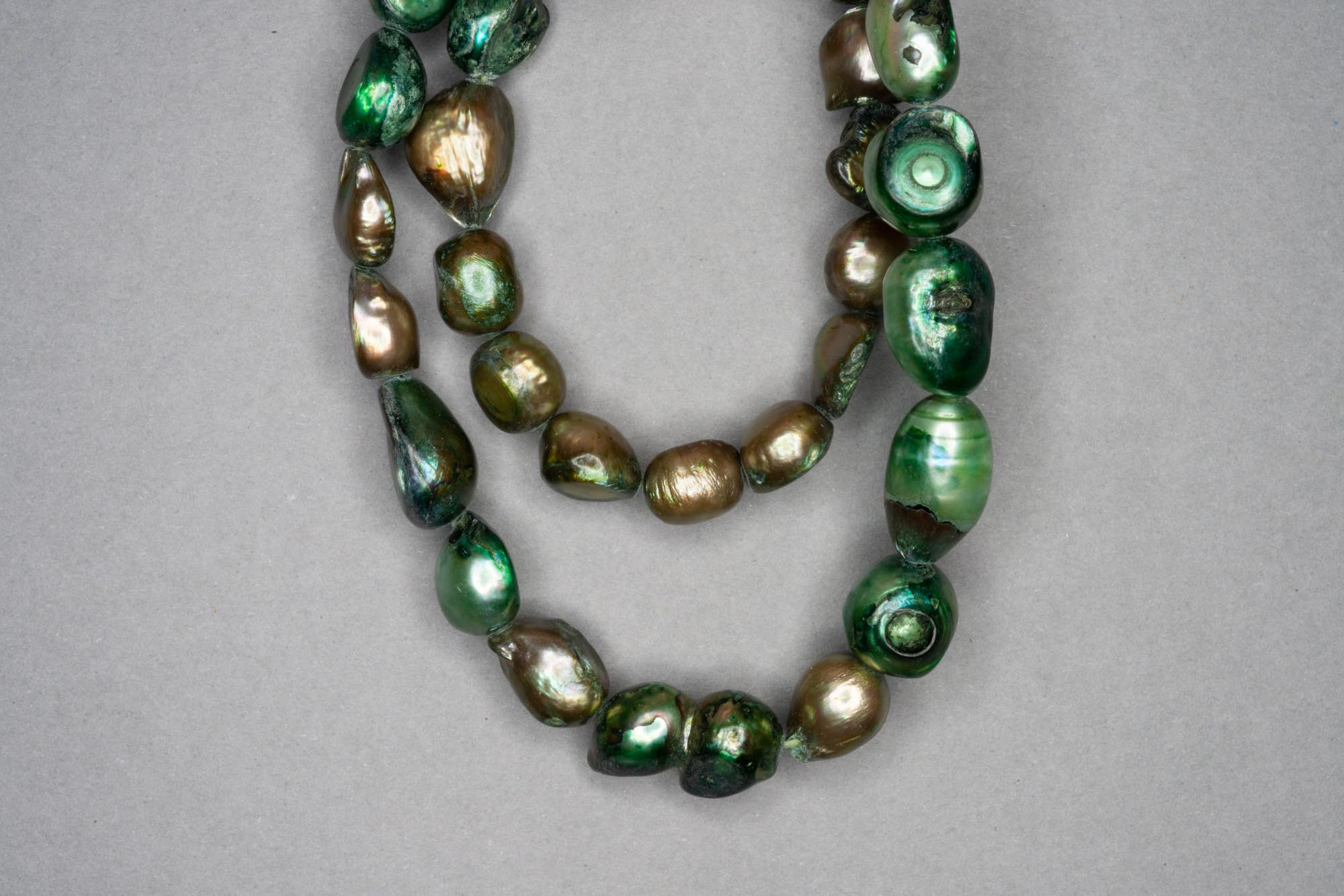 Dark Green Dyed Fresh Water Pearl 38cm Strand, approx 8×8-10x12mm