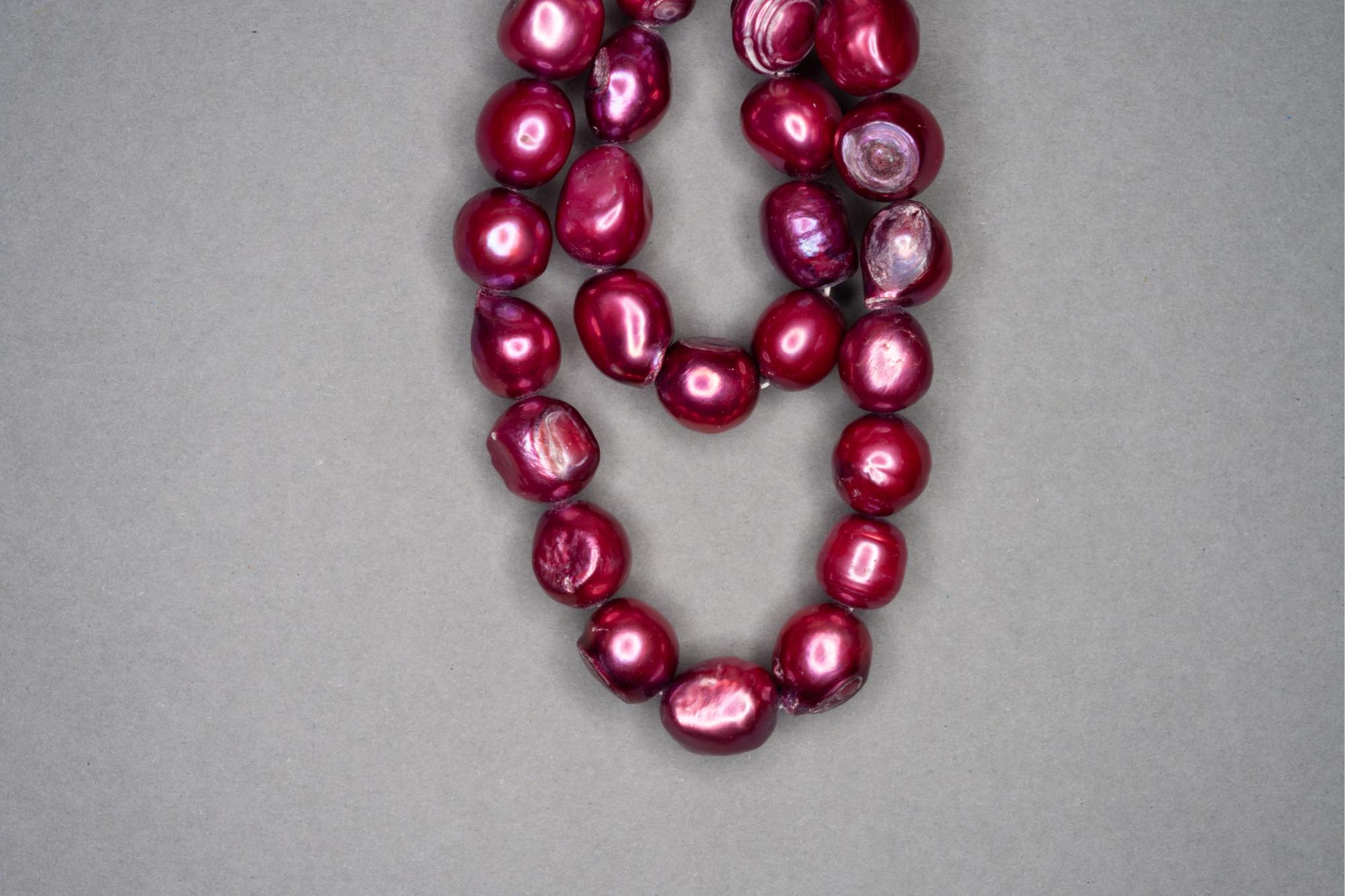 Deep Pink Dyed Fresh Water Pearl 38cm Strand, approx 10x9mm