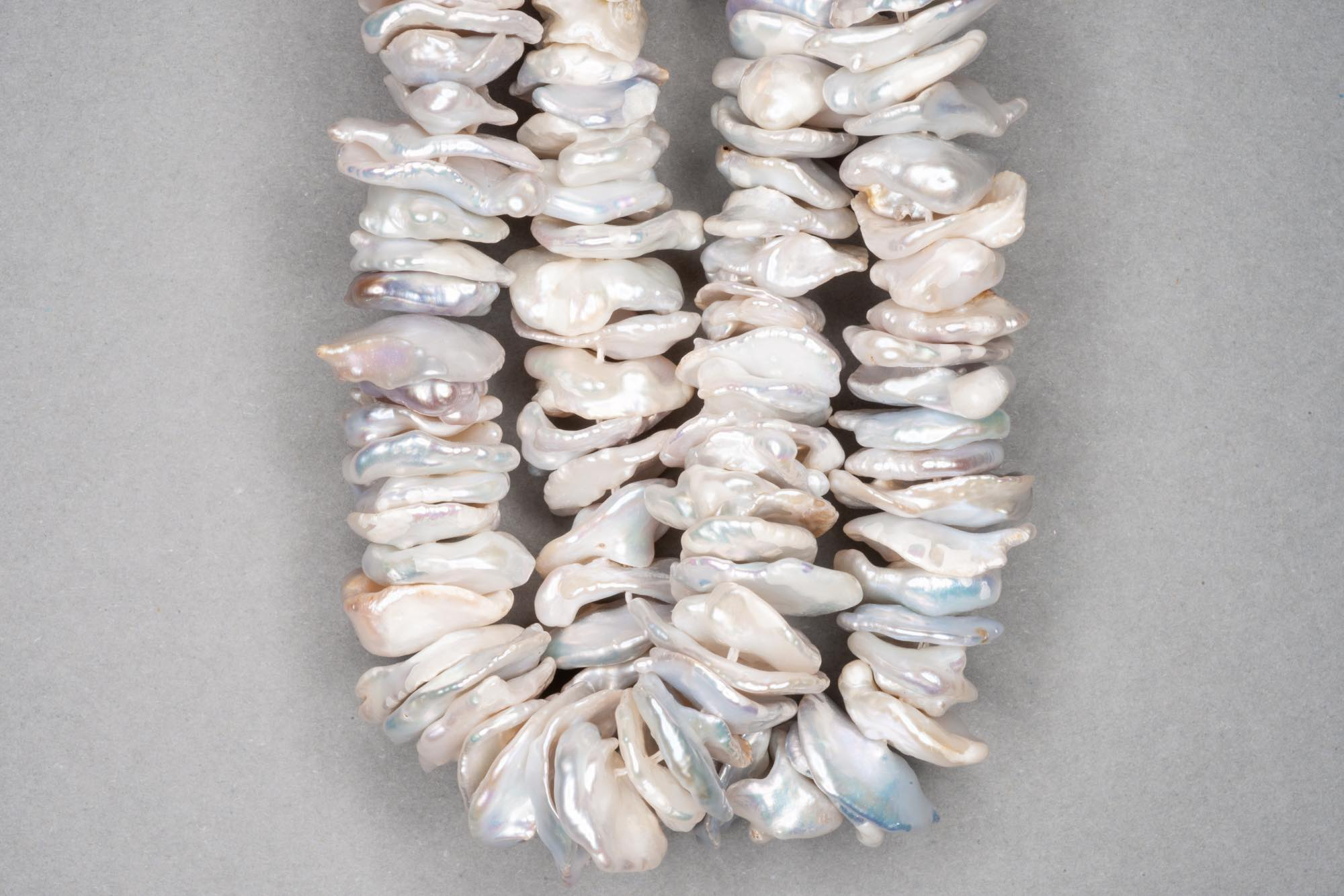 Natural Silver Ivory Fresh Water Pearl Disk Beads, 38cm Strand, approx  15-30×2-4mm