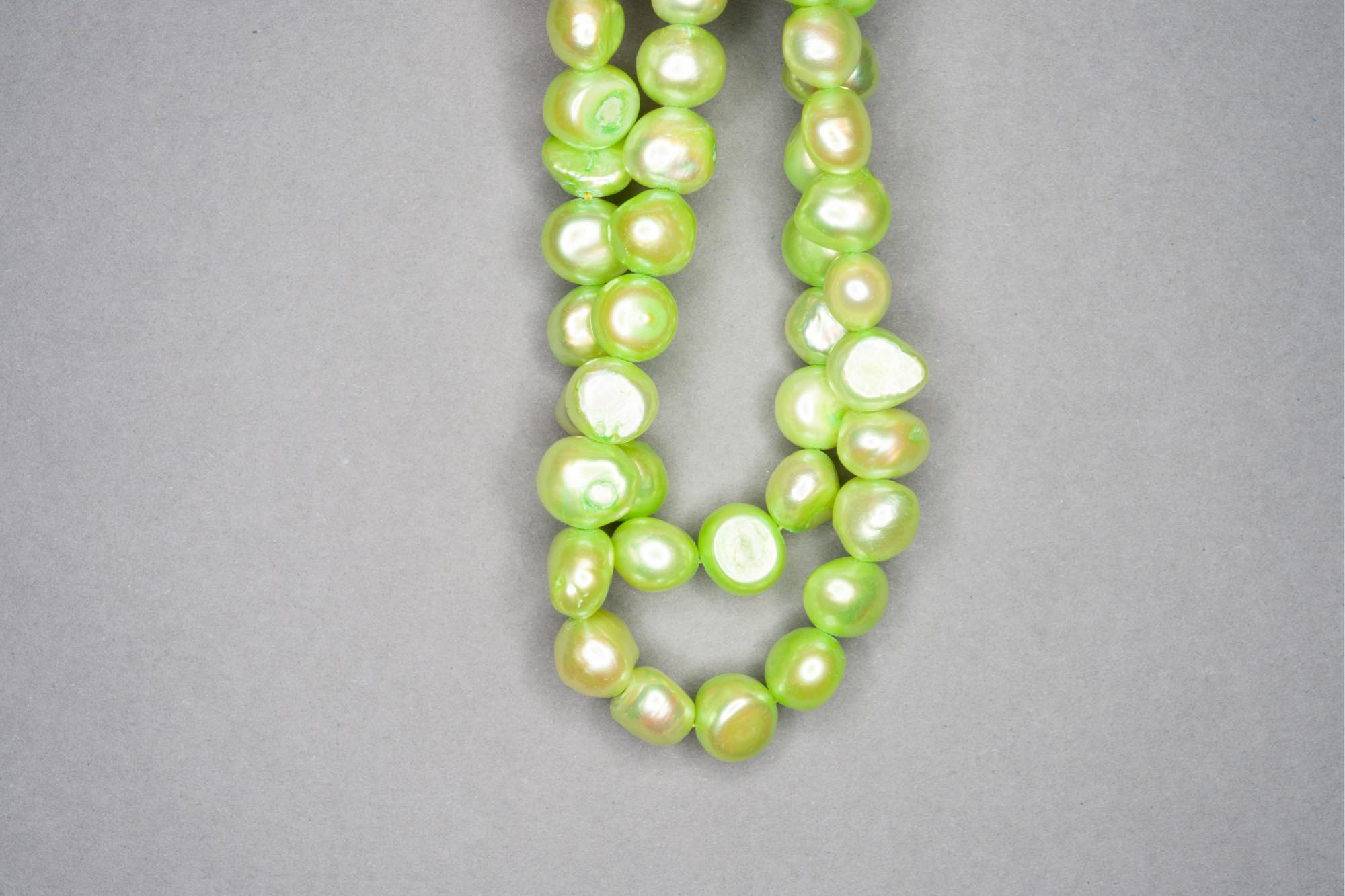 Lime Green Dyed Fresh Water Pearl 38cm Strand, approx 9x8mm