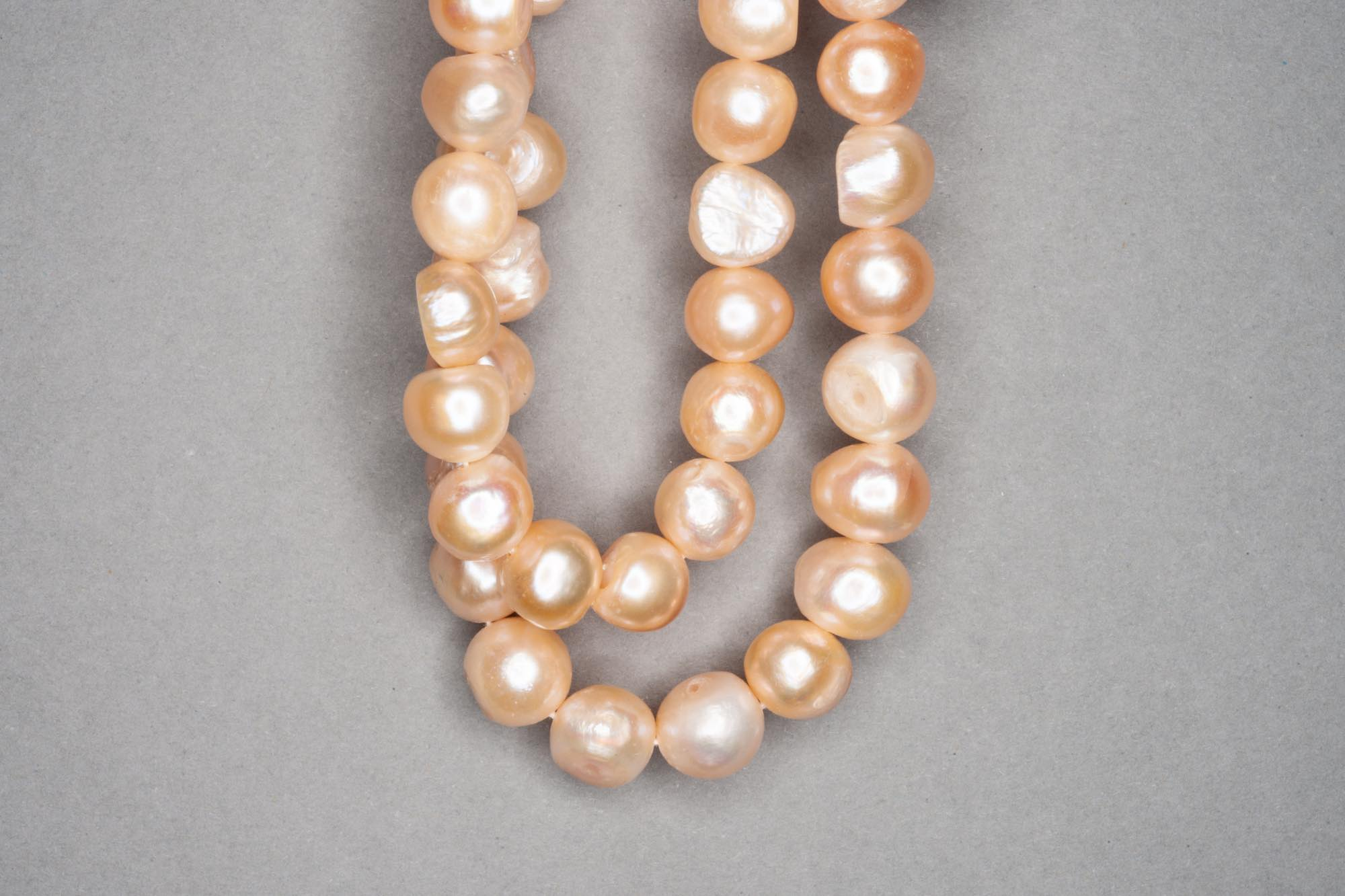 Peach Dyed Fresh Water Pearl 38cm Strand, approx 9x7mm