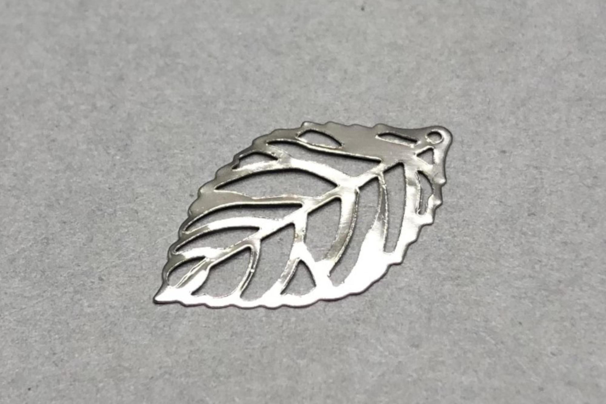 Filigree Silver Plated Leaf 24x14x0.5mm, 0.7mm hole