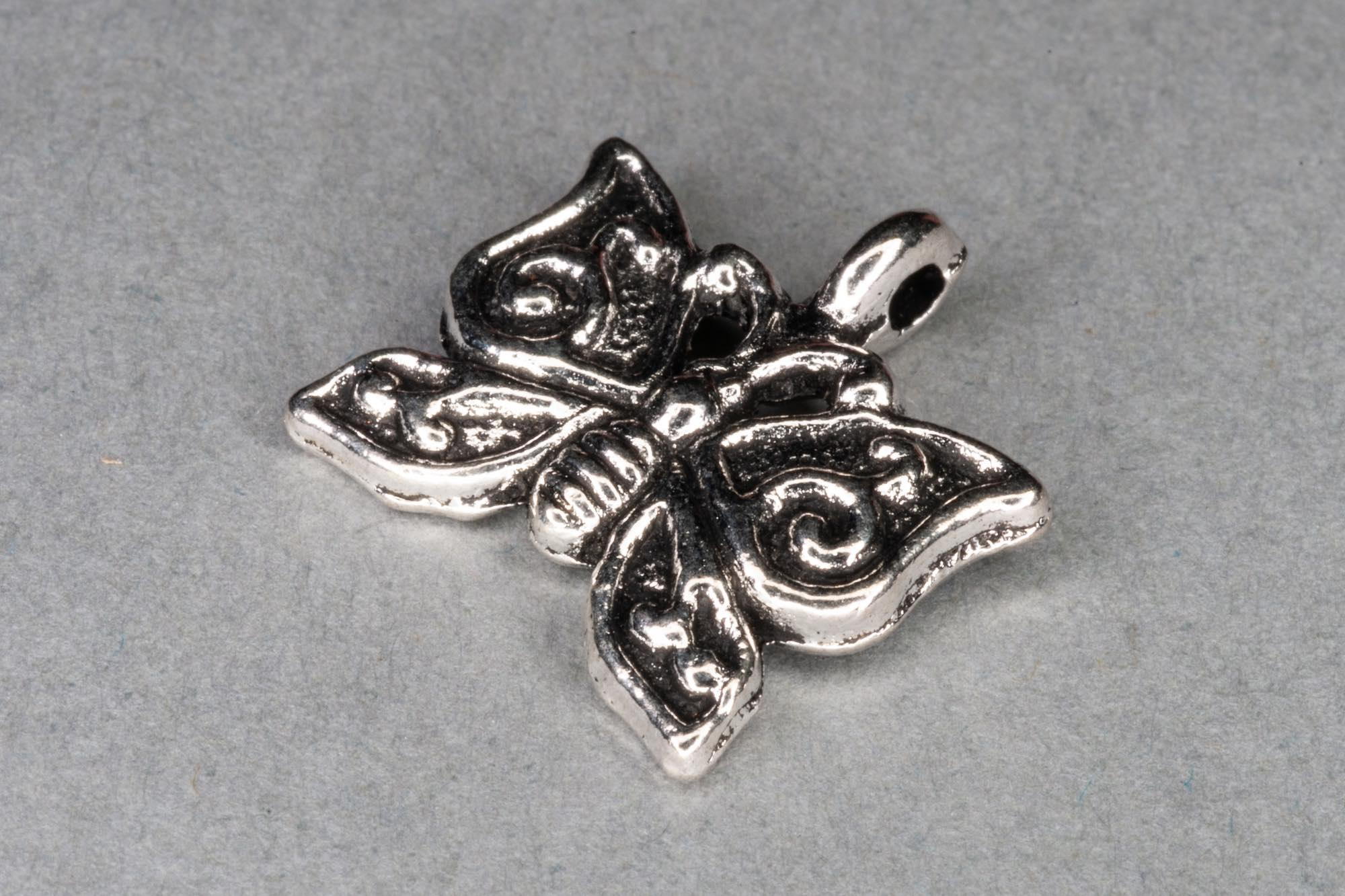 Antique Silver Butterfly Charm 15x15mm