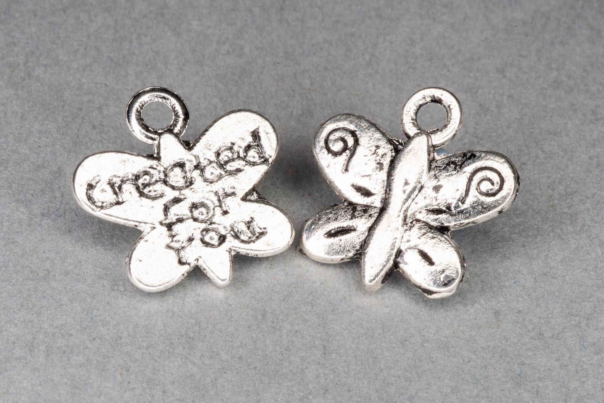 Antique Silver 'Created For You' Butterfly Charm 13x14mm